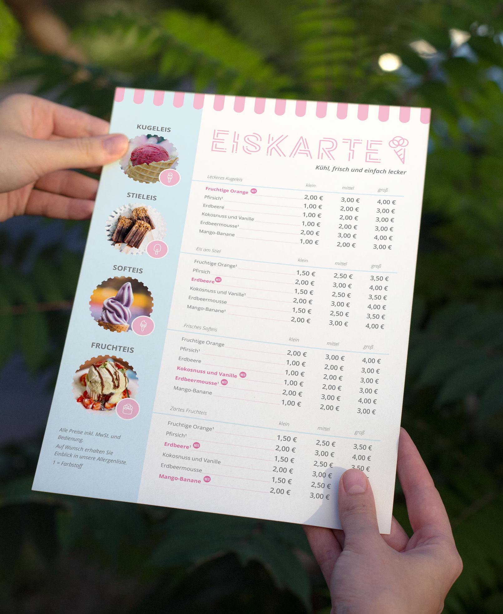 Eiskarten-Vorlage zur Bearbeitung in InDesign, Photoshop und Word