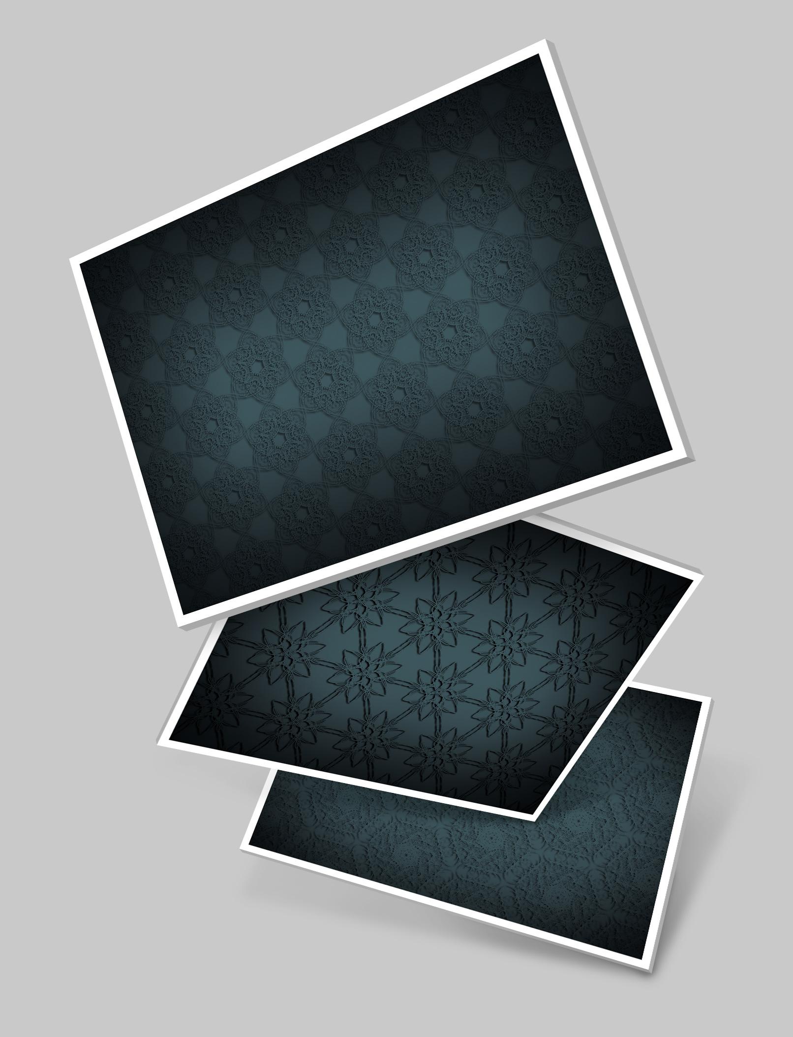 Drei Varianten mit Hintergrundbildern in Stahlgrau