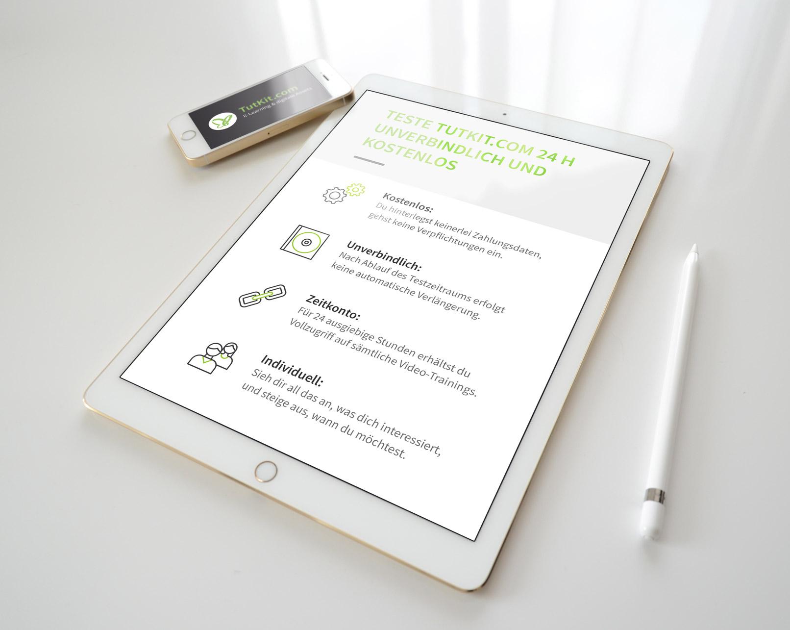 Tablet mit Webseite und Interface-Icons zur Strukturierung