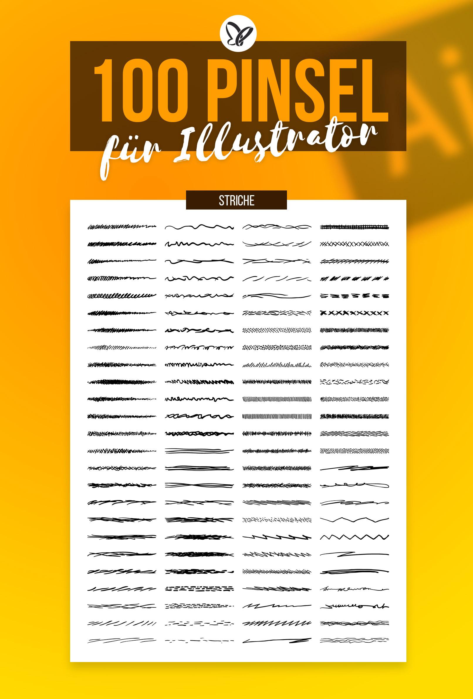 Vorschau auf die 100 Adobe Illustrator Pinsel für skizzenartige bis kunstvolle Vektorgrafiken