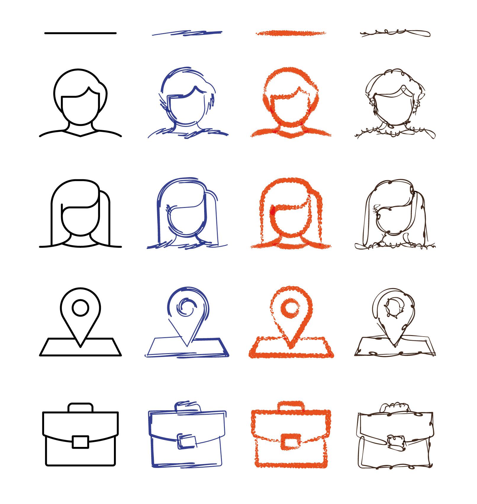 Linien und Grafiken, auf die die Pinsel in Affinity Designer aufgelegt wurden