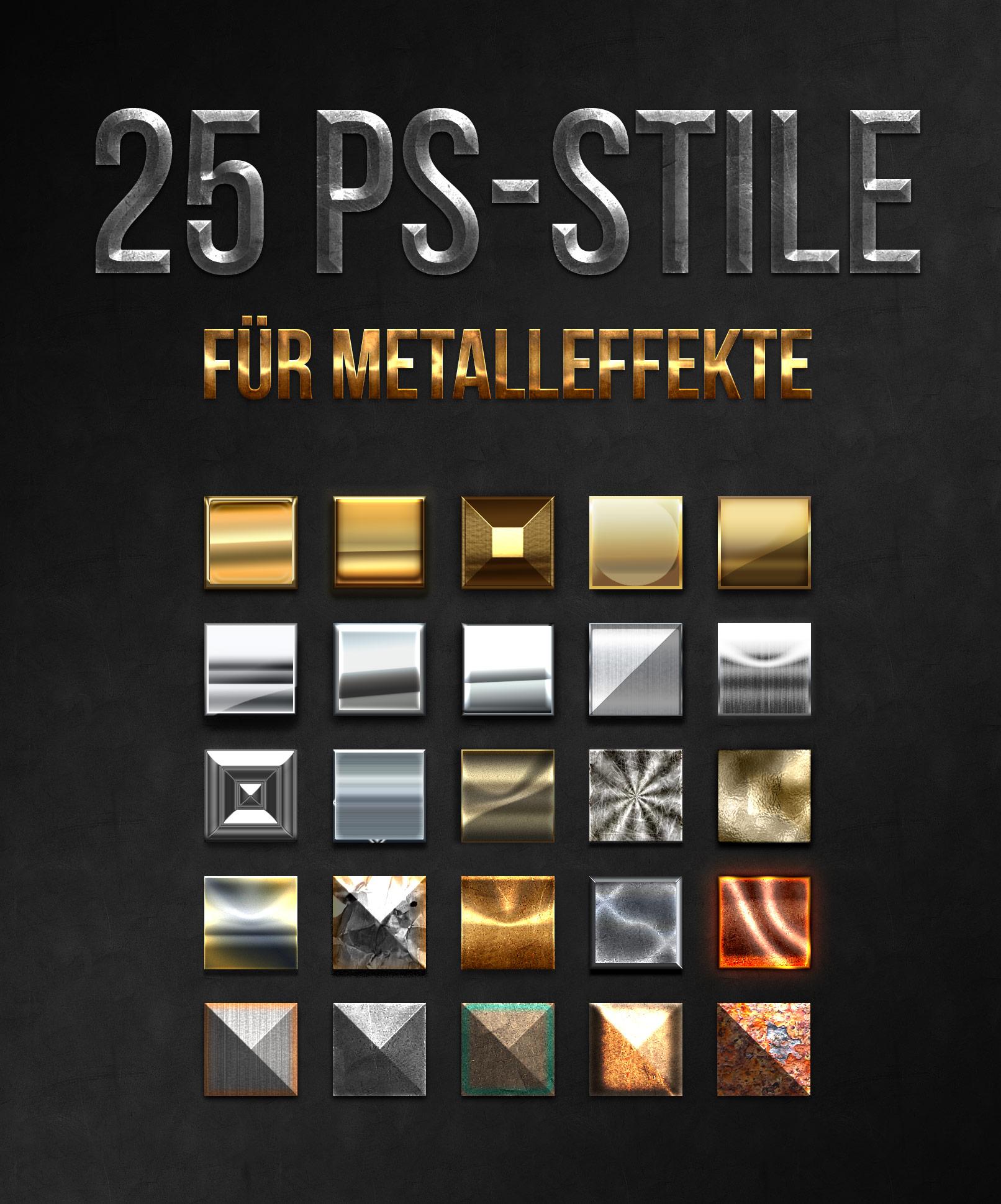 25 Photoshop Stile für Metall-Effekte, inklusive Gold und Silber