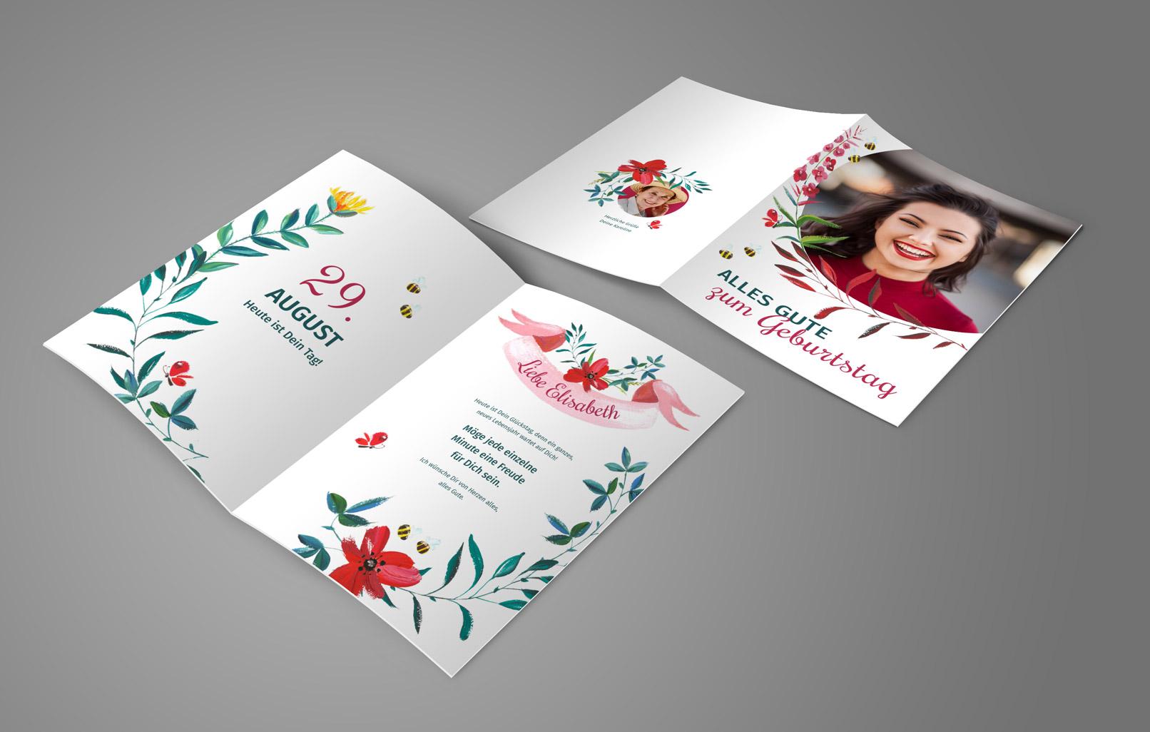 Vorlage für eine Geburtstagskarte mit illustrativen Blumen