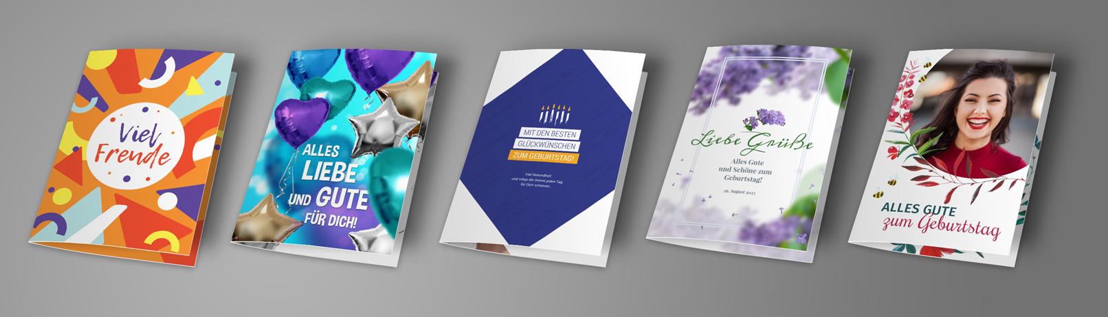 Vorlagen für Geburtstagskarten im A5-Hochformat, selbst gestalten und ausdrucken