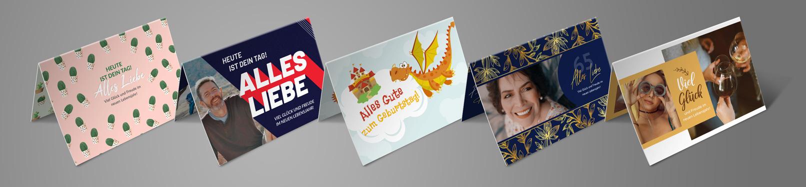 Vorlagen für Geburtstagskarten im A5-Querformat, selbst gestalten und ausdrucken