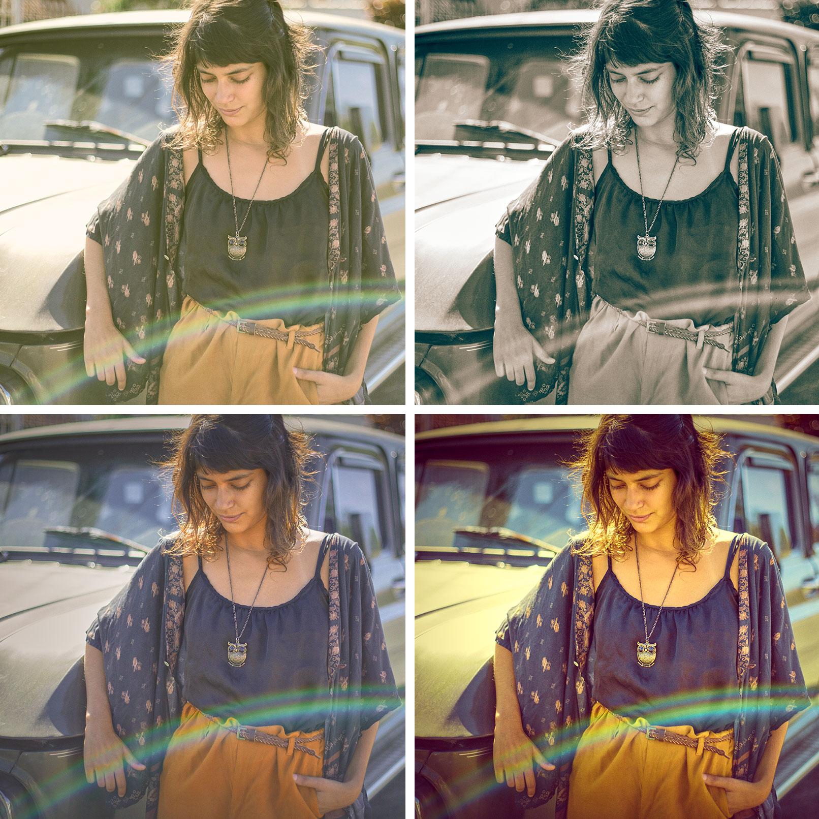 Bild einer Frau, auf das verschiedene Capture One-Presets aufgelegt wurden