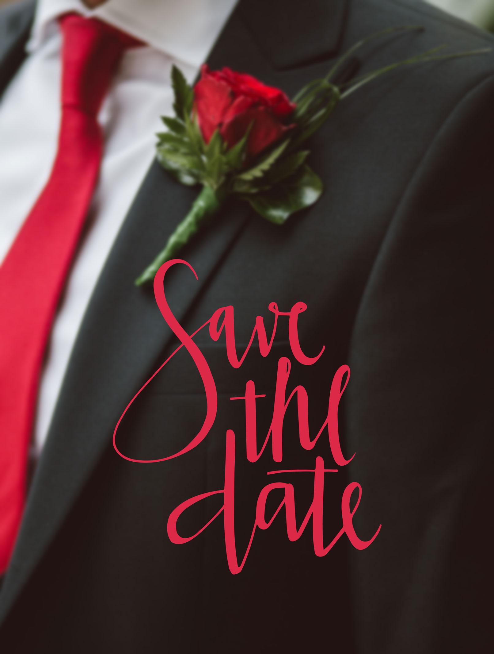 Bräutigam mit Anzug und Rose, Handlettering Save the date für eine Hochzeitseinladung