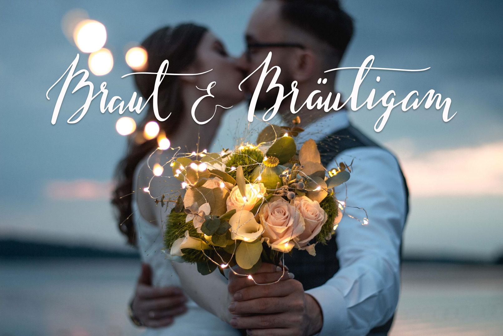 Brautpaar mit Blumenstrauß, Braut und Bräutigam als Handlettering