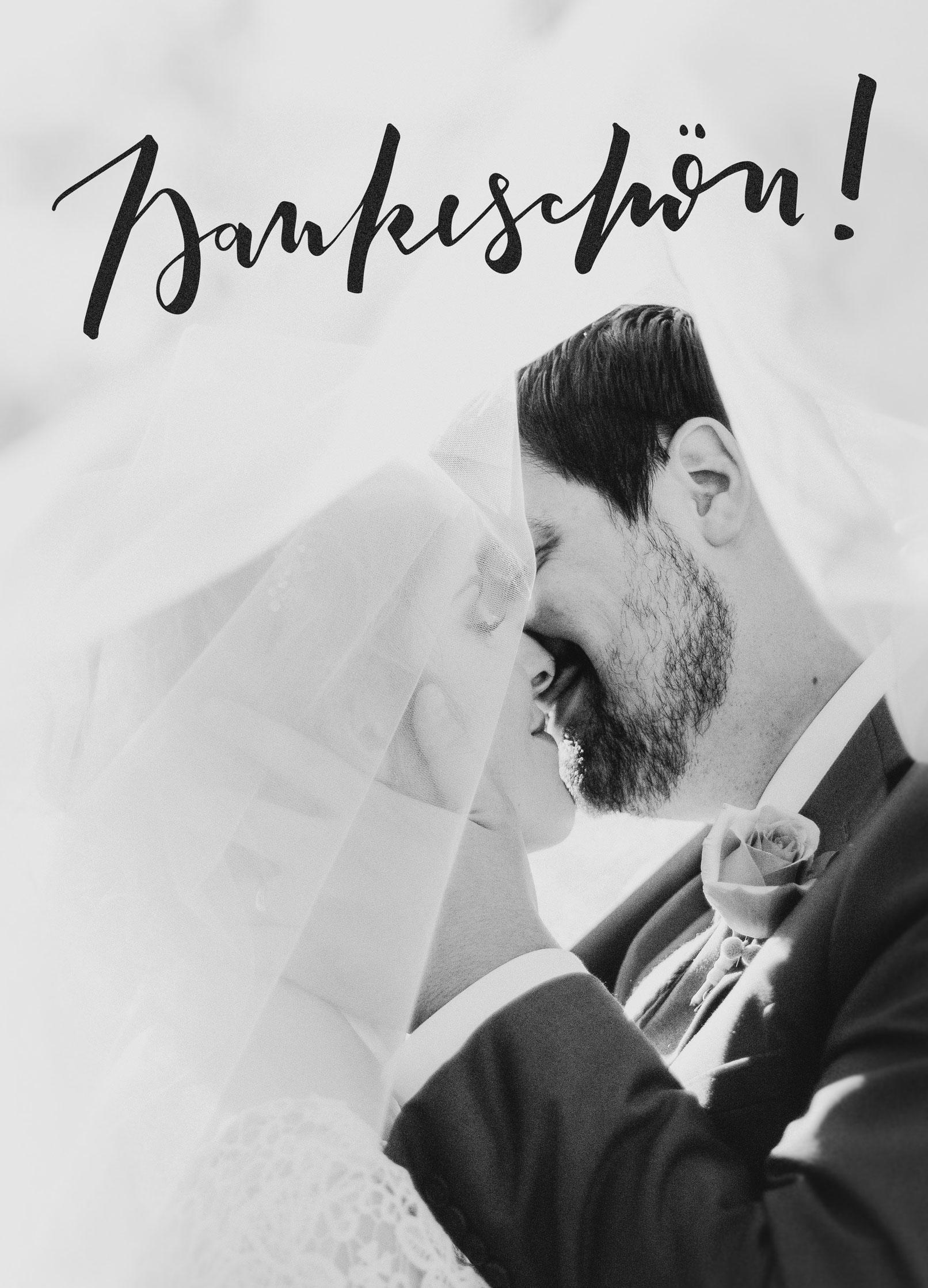 Dankeskarte Hochzeit mit Handlettering Dankeschön