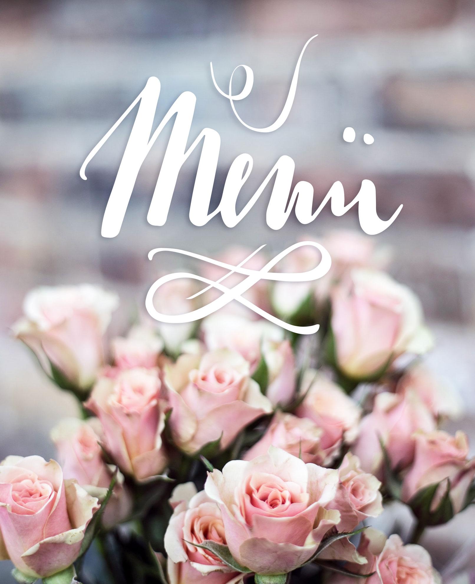 Menükarte Hochzeit mit Handlettering Menü