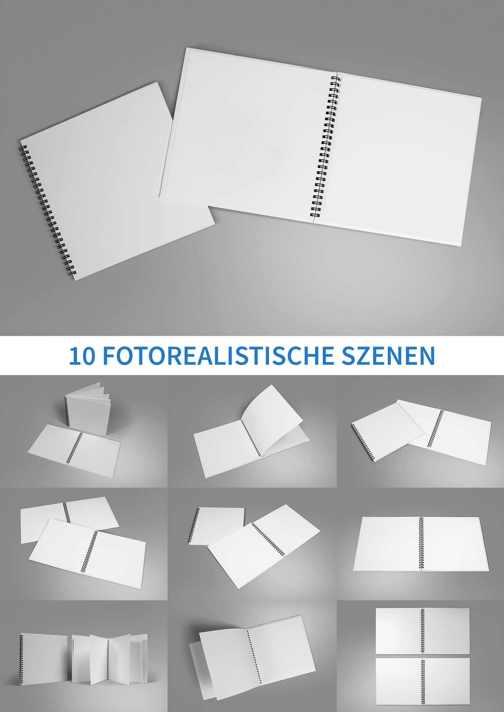 Mockup für Quadratformat-Hardcover-Broschüren mit Spiralbindung