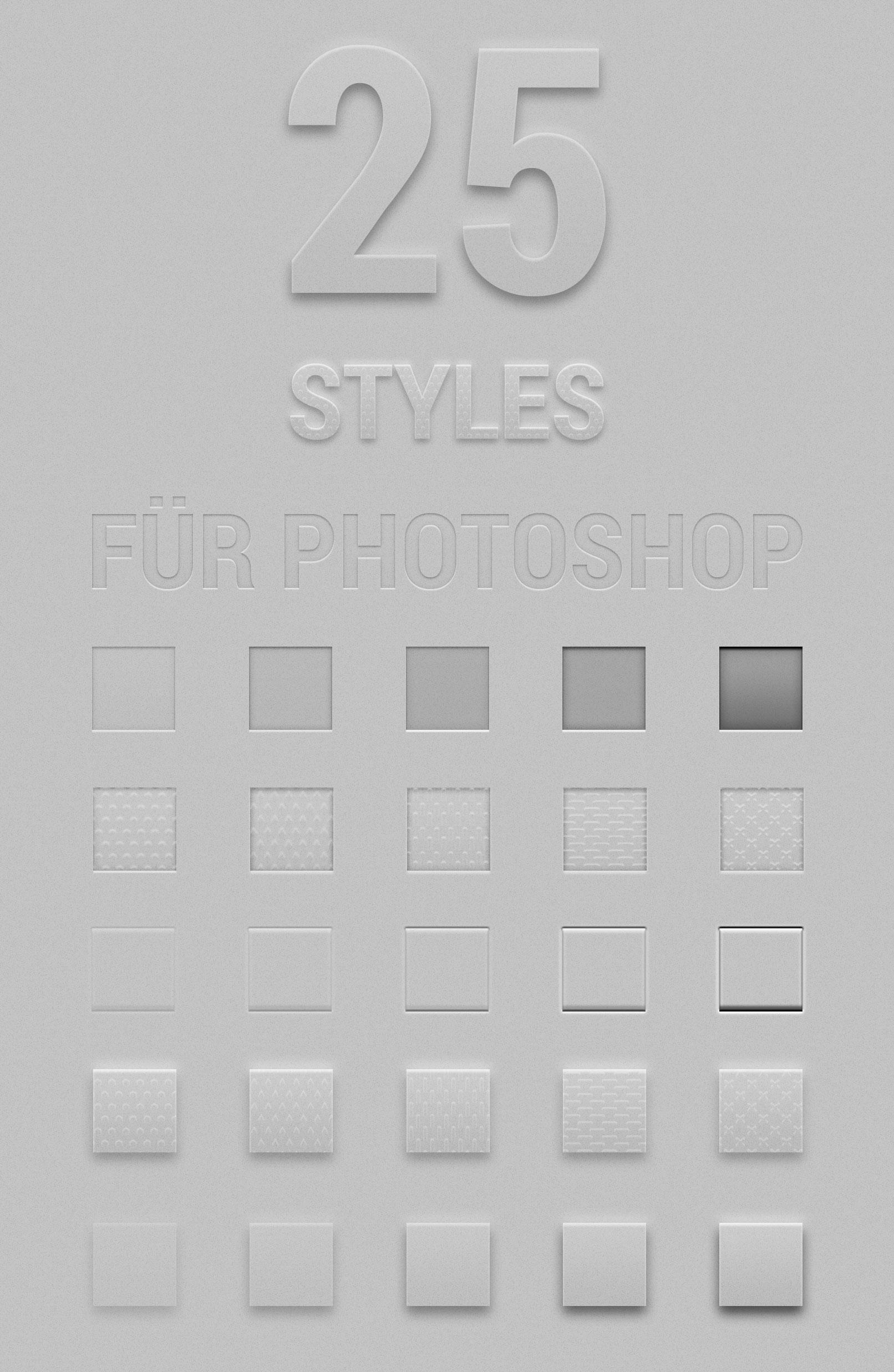 Photoshop-Stile für Transparenz, Relief, Prägung, für Texte und Grafiken