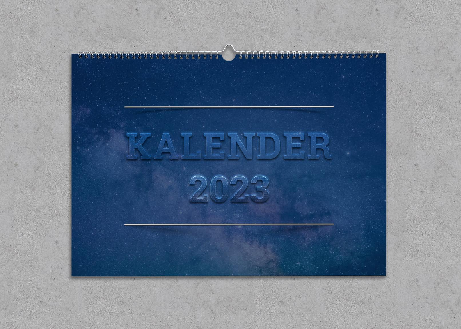 Kalender-Design mit Text mit Transparenz- und Relief-Effekt