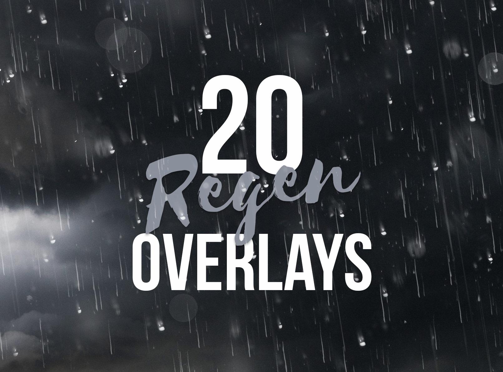 Beispiel für die Regen-Bilder und -Overlays mit Tropfen als lange Fäden