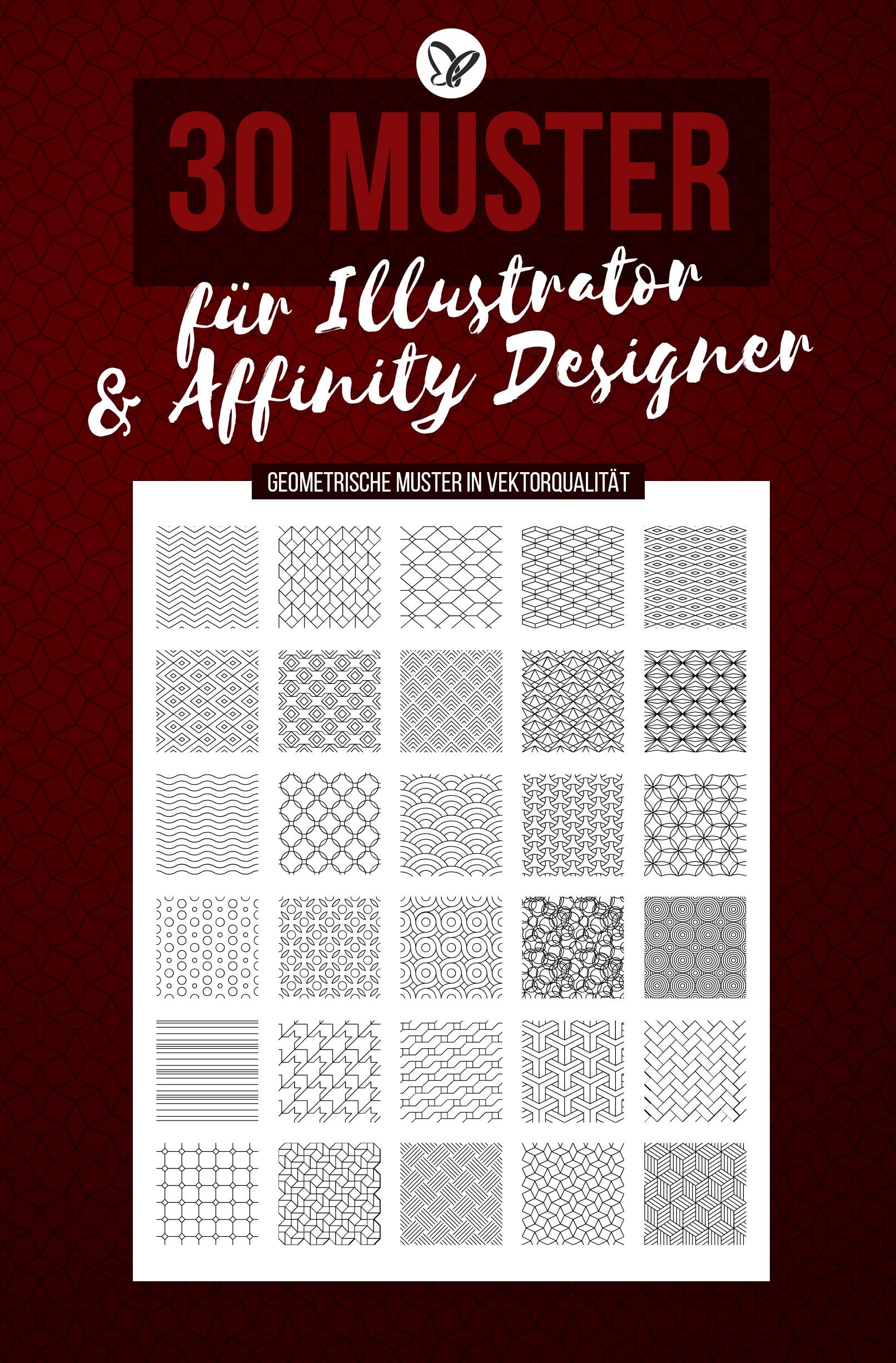 Vorschau auf die 30 vektorbasierten Muster für Adobe Illustrator und Affinity Designer