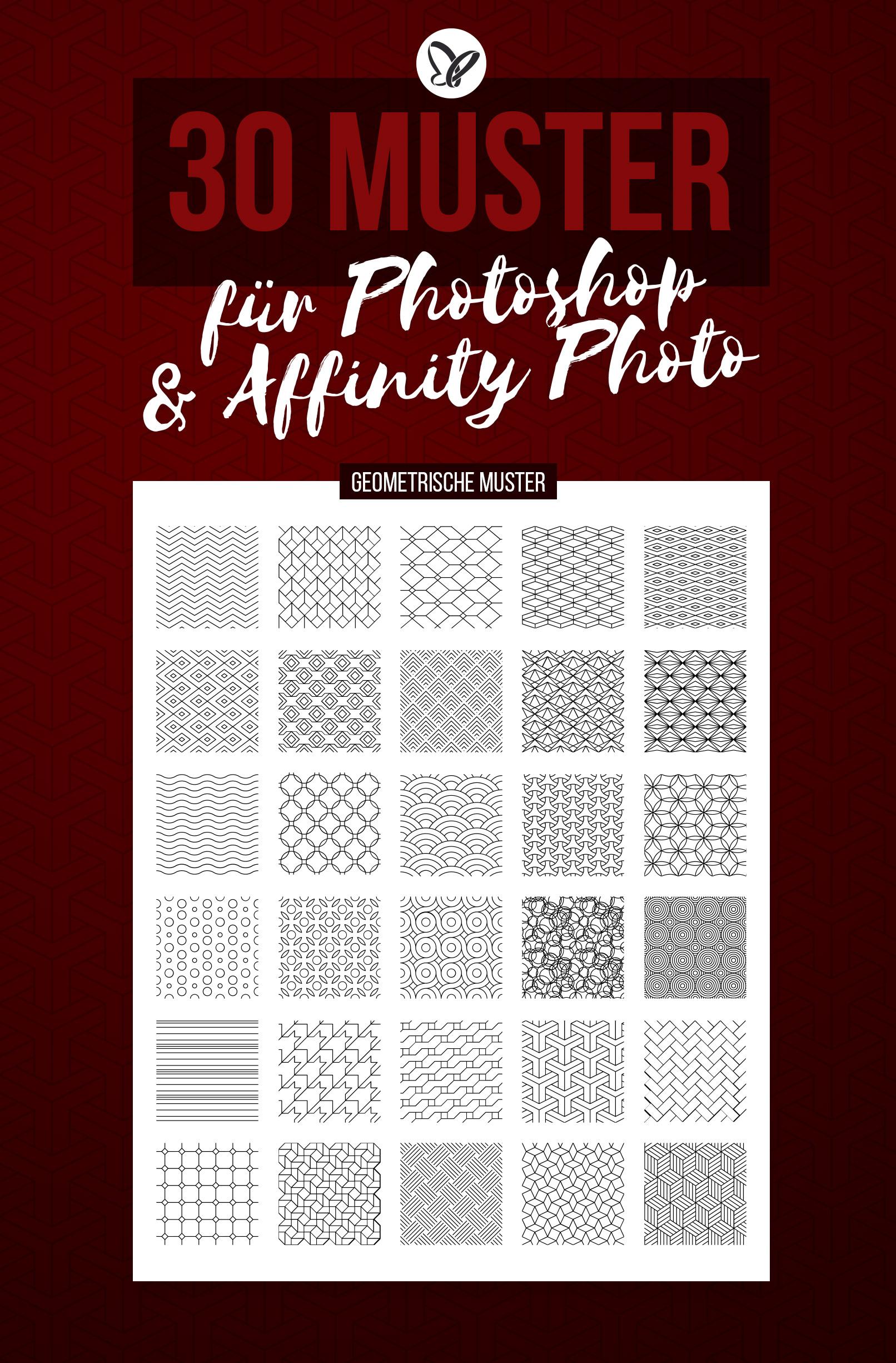 Vorschau auf die 30 Muster für Photoshop und Affinity Photo