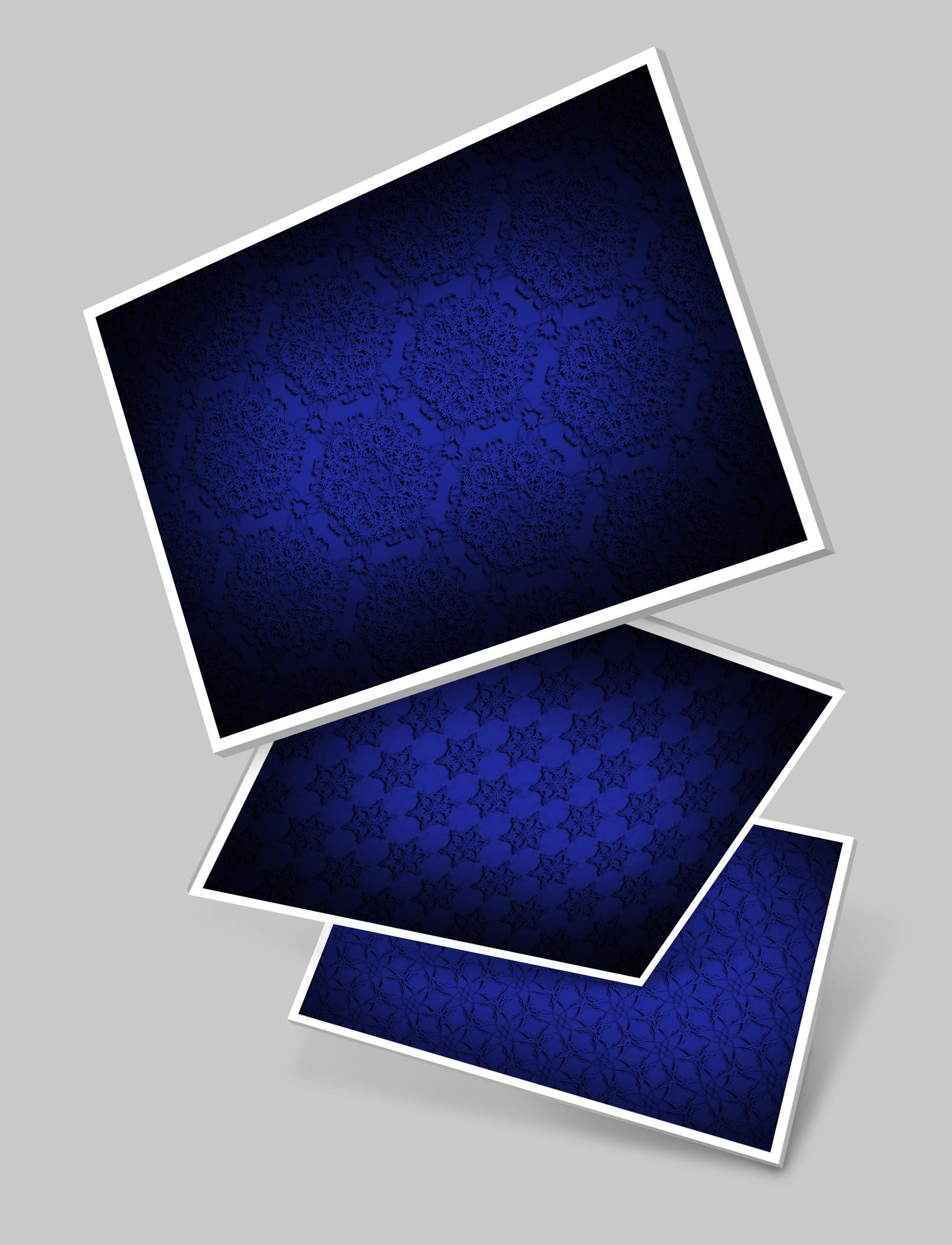 Drei Varianten mit Hintergrundbildern in Blau