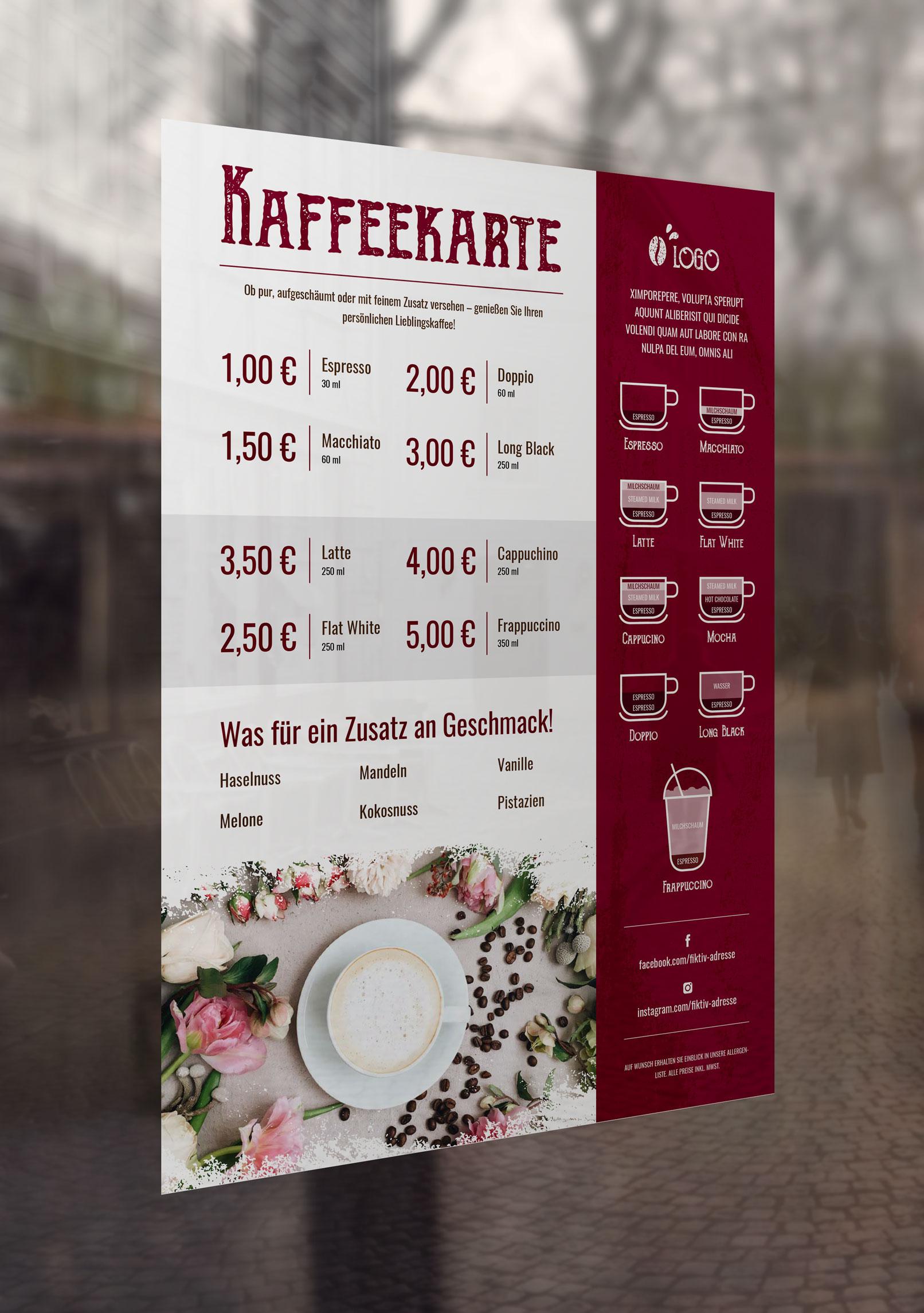 Kaffekarten-Vorlage zur Bearbeitung in InDesign, Photoshop und Word