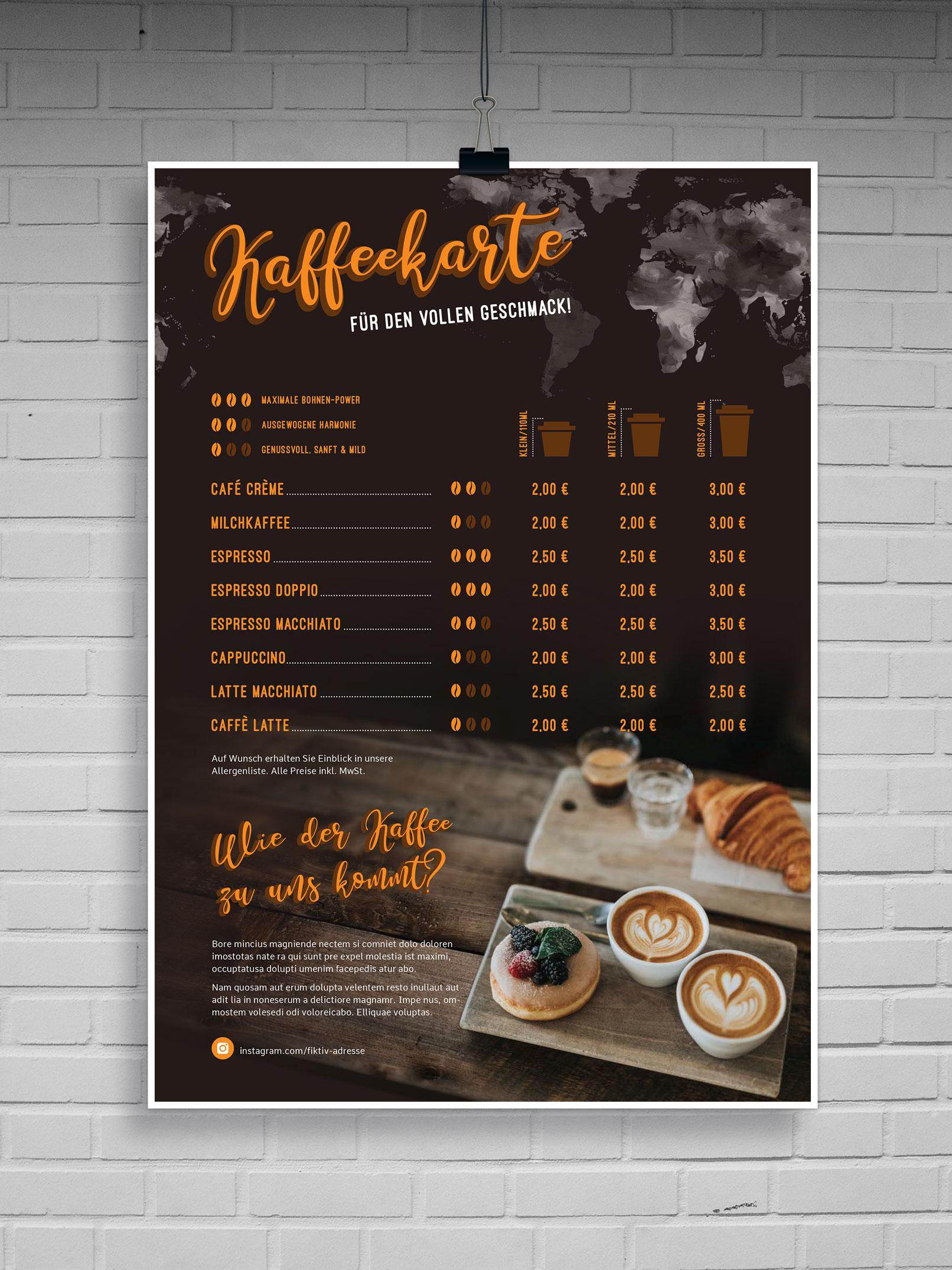 Vorlage zum Erstellen von Kaffeekarten zur Bearbeitung in InDesign, Photoshop und Word