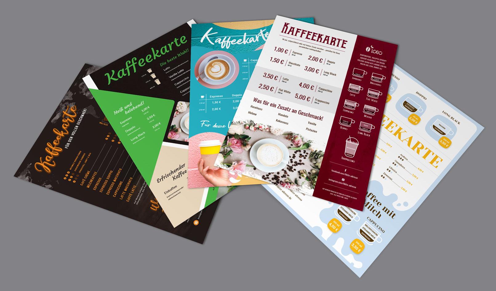 Kaffeekarten-Vorlagen zur Bearbeitung in InDesign, Photoshop und Word