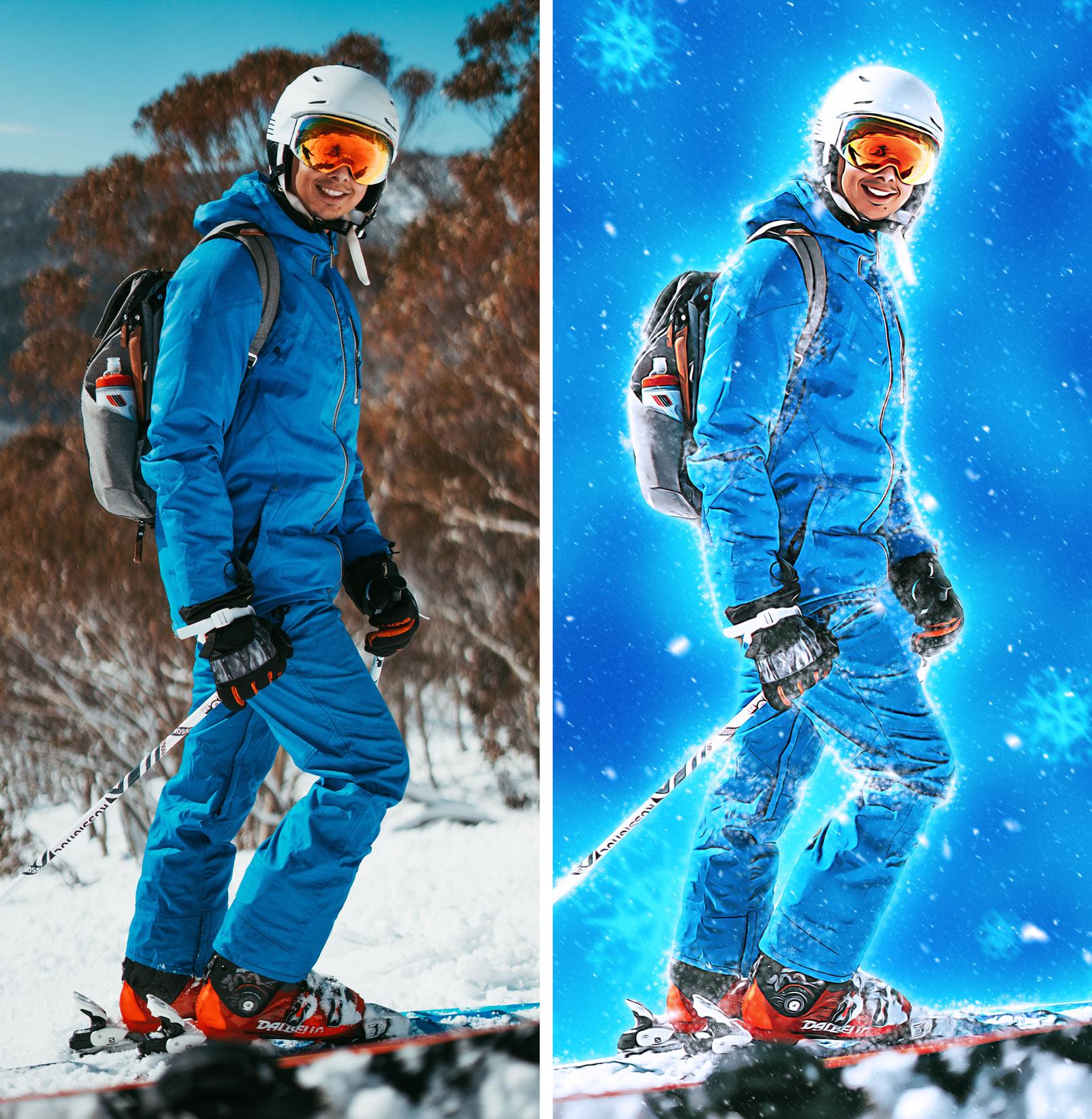 Skifahrer in Winterlandschaft, bearbeitet mit der Photoshop-Aktion Schneezauber vor Ölfarbigkeit