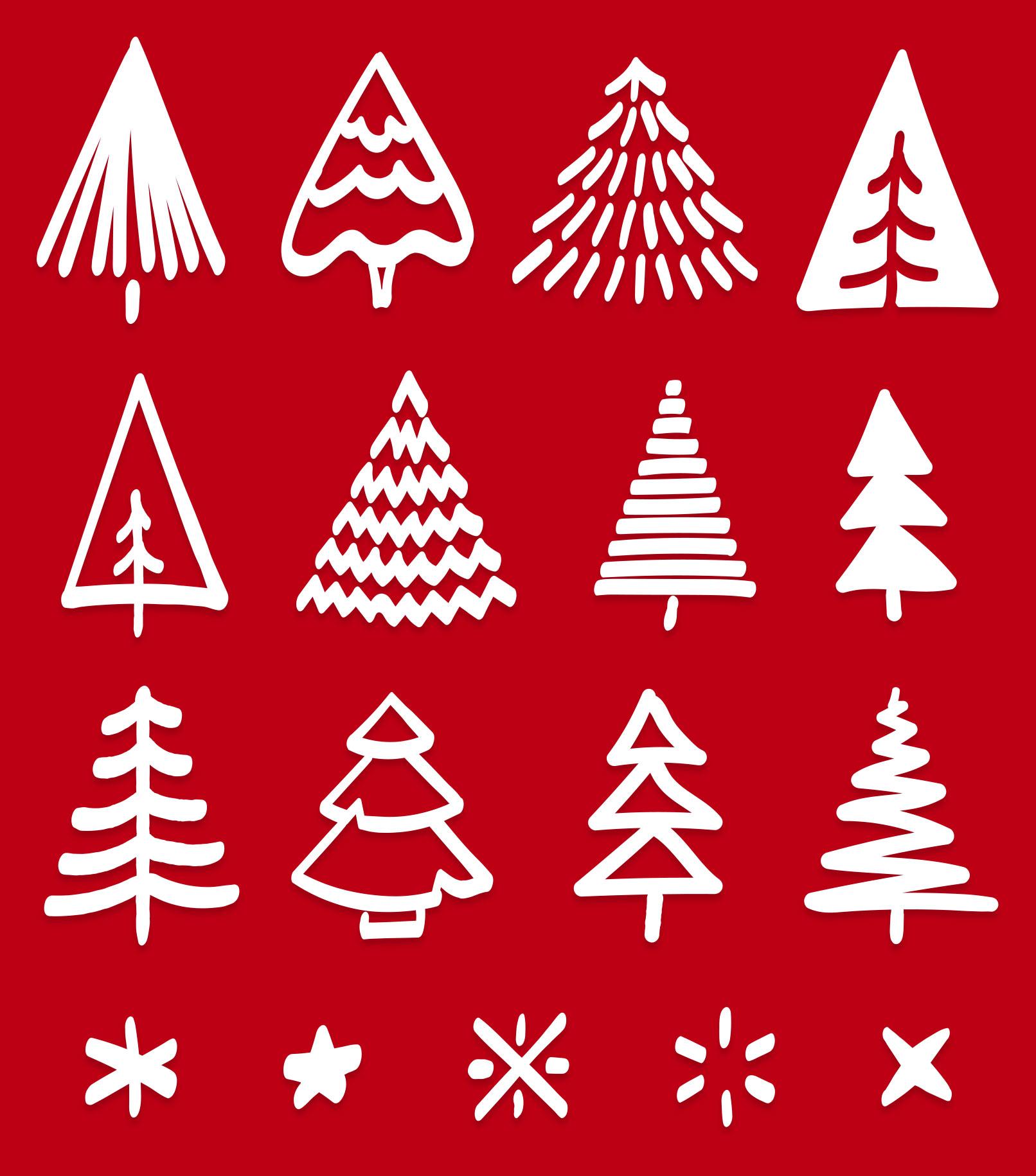 Einzeldarstellung der Illustrationen für Tannenbaum-Muster