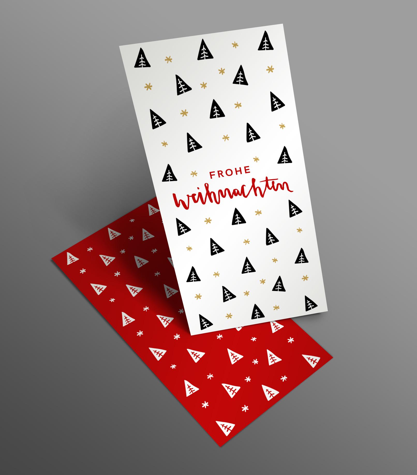 Weihnachtskarte mit Tannenbaum-Muster