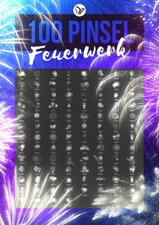 100 Bilder mit Feuerwerksformationen als Pinselspitzen