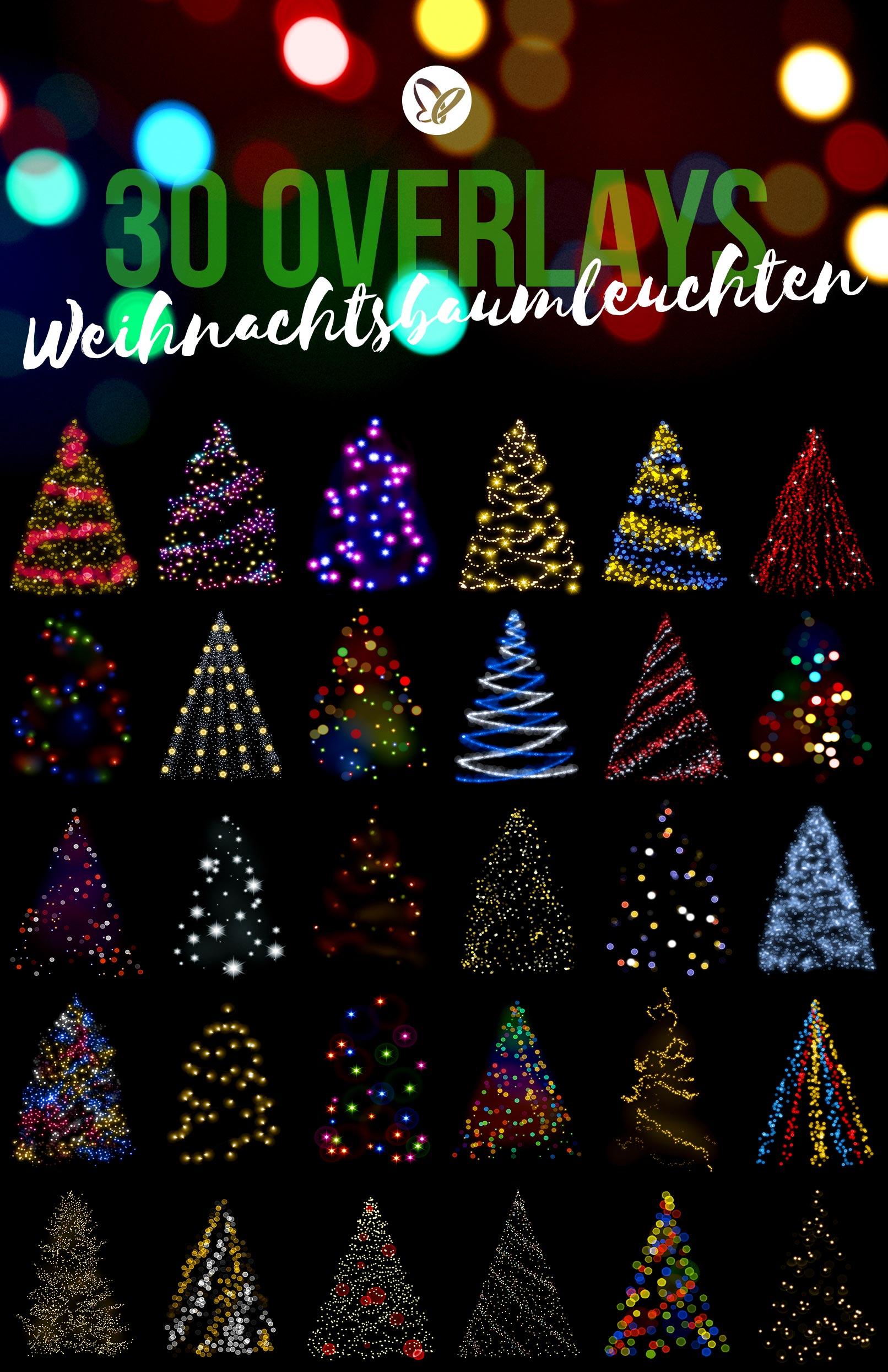 Bokeh-Overlays für ein Leuchten des Weihnachtsbaums