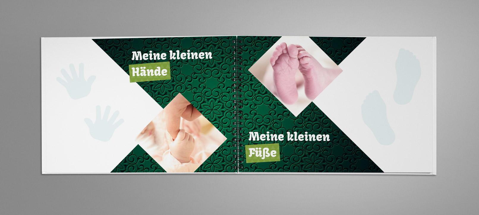 Fotoalbum, in dem die grünen Hintergrundbilder für den Hintergrund verwendet wurden.