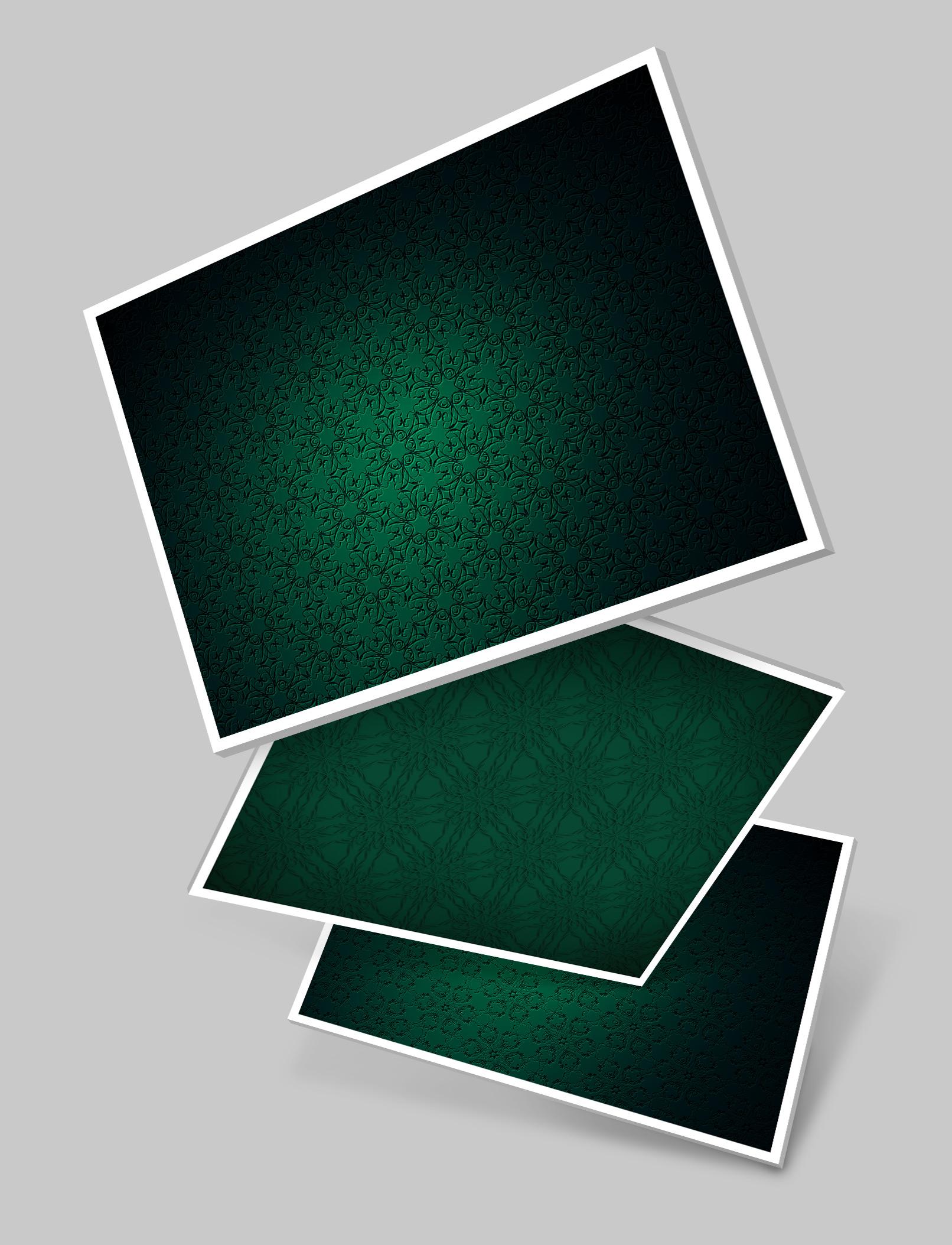 Drei Varianten mit Hintergrundbildern in Grün und mit Ornamenten