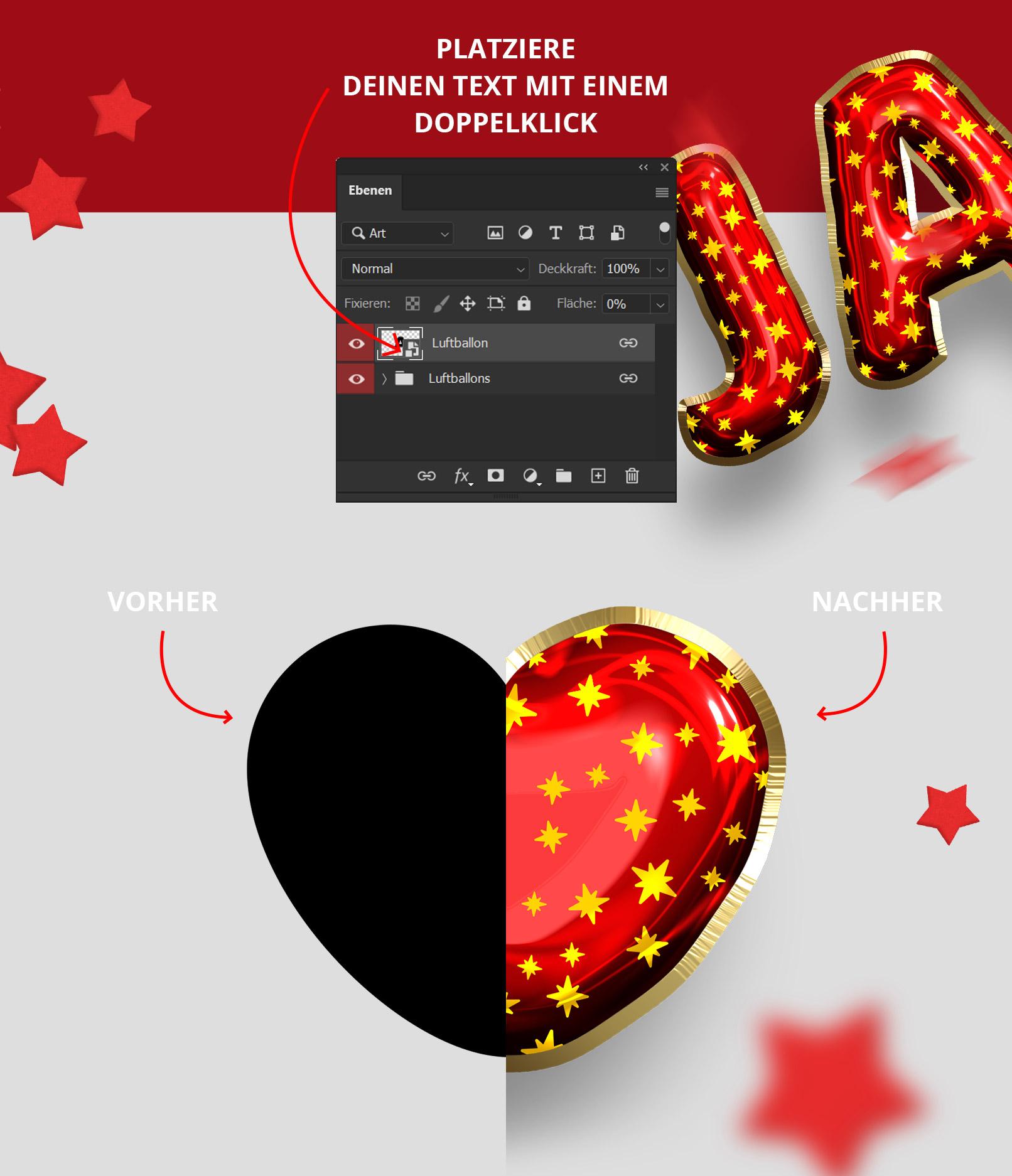 Anwendung der Photoshop-Smartobjekte für Luftballon-Looks