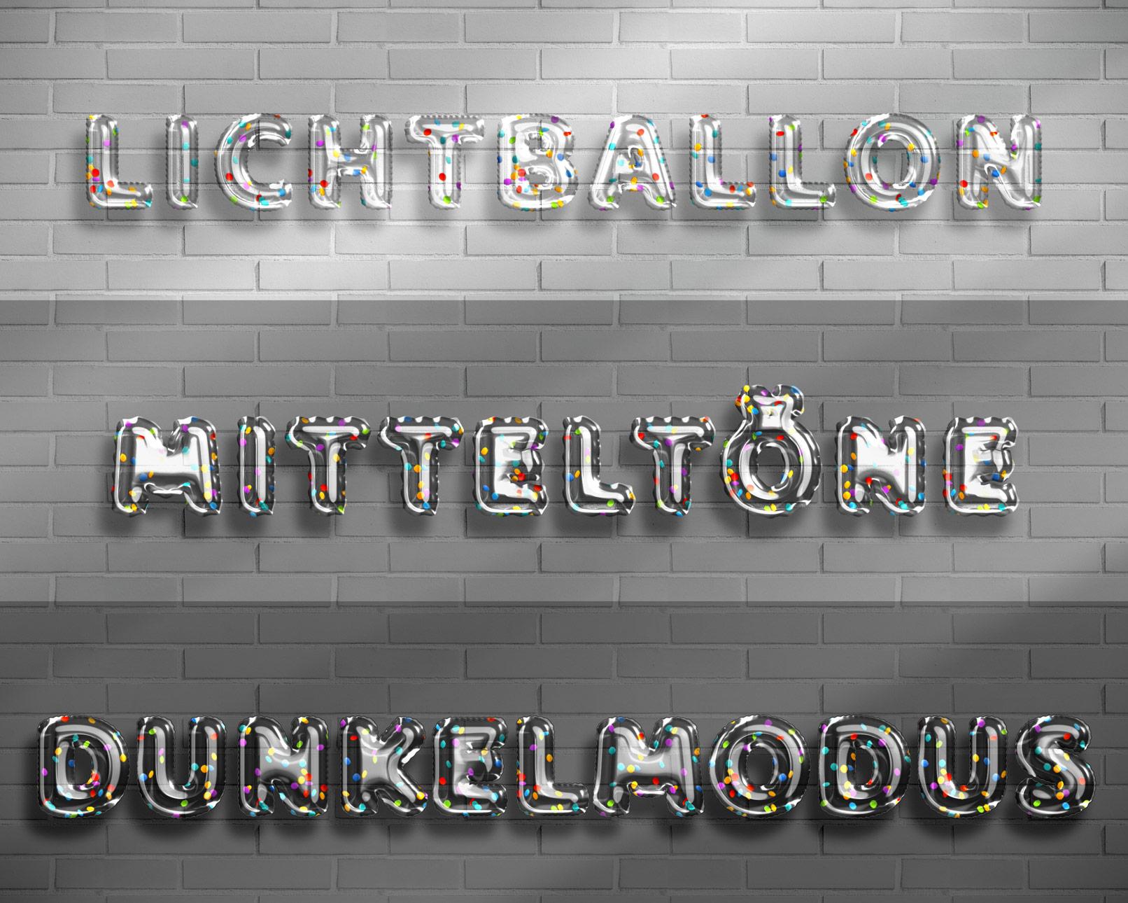 Luftballon-Effekte mit Konfetti vor verschiedenen vorbereiteten Hintergründen