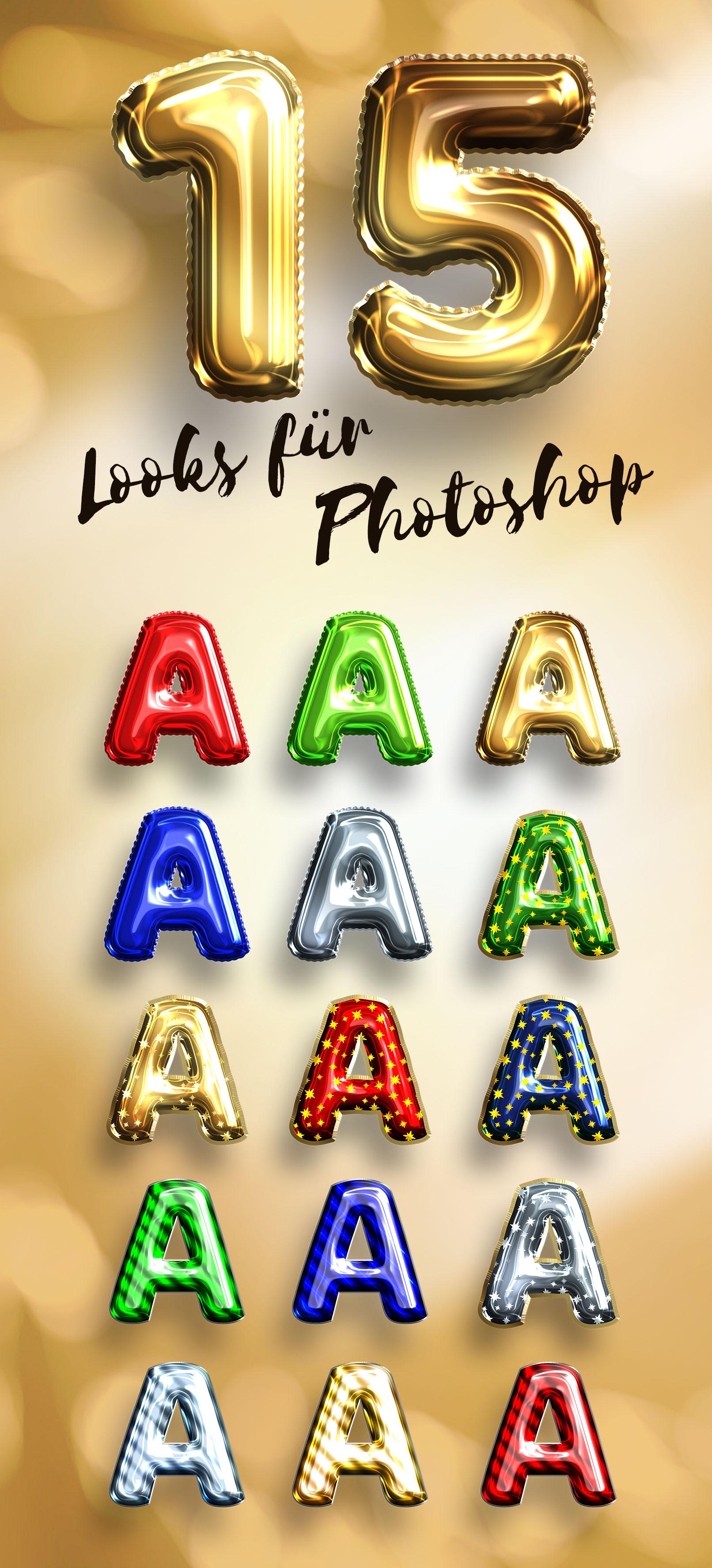 Zahlen und Buchstaben in verschiedenen Luftballon-Looks, erstellt mit Photoshop-Smartobjekten