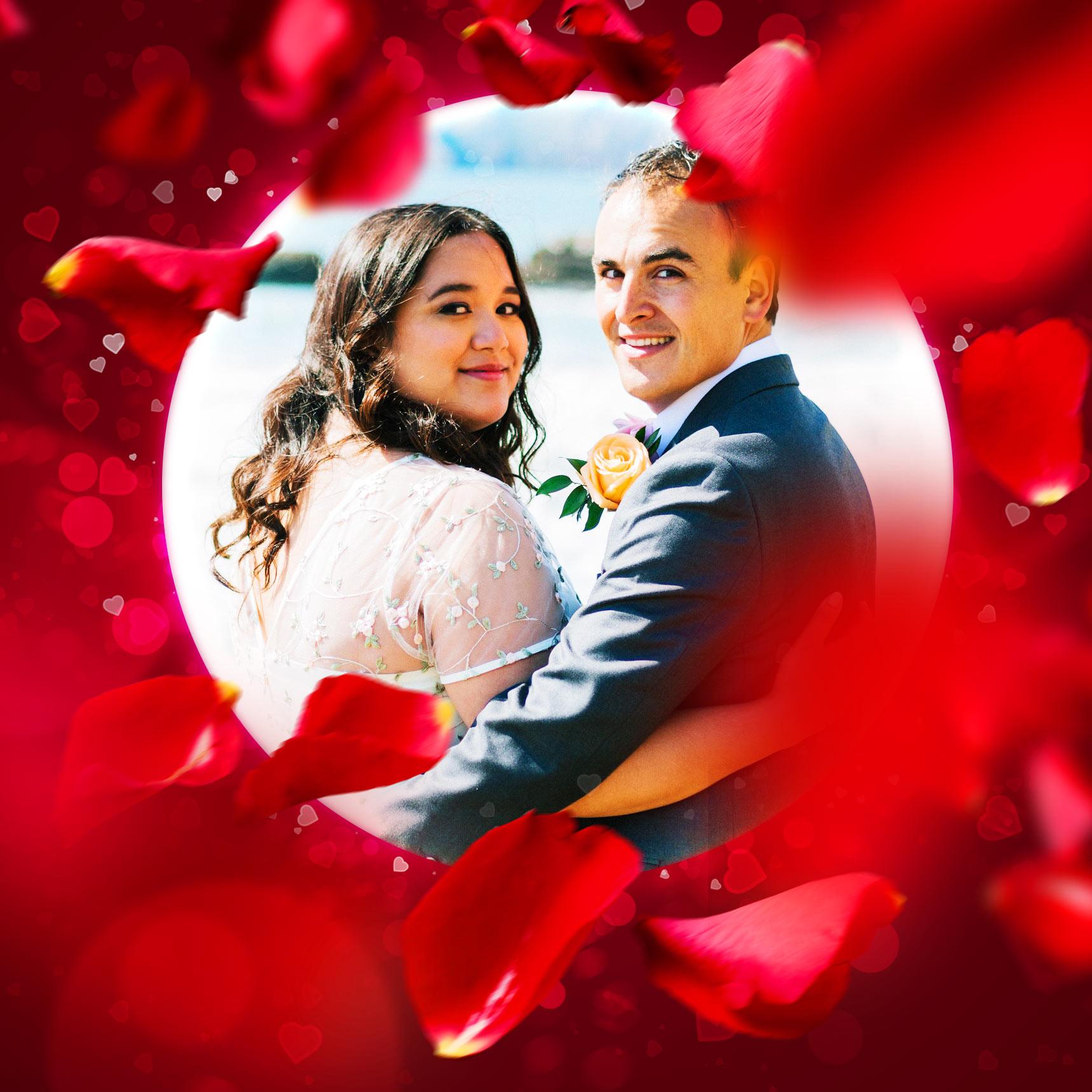 Foto eines Brautpaars, umgeben von einem Rahmen mit Rosenblättern und Herzbokeh, Beispiel zur Anwendung der Photoshop-Aktion