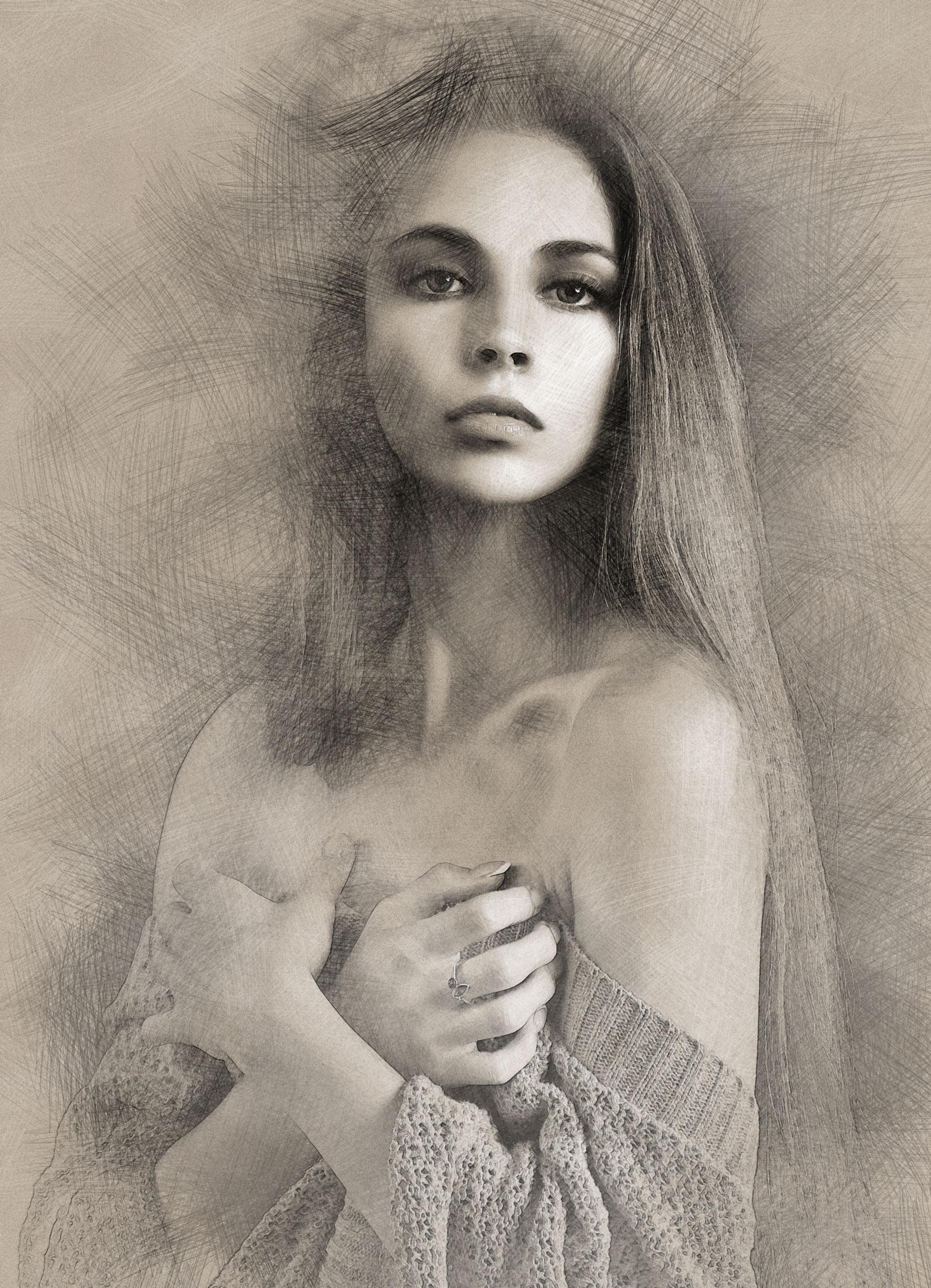 Porträt einer Frau als Bleistiftzeichnung, Foto umgewandelt mithilfe der Photoshop-Aktion