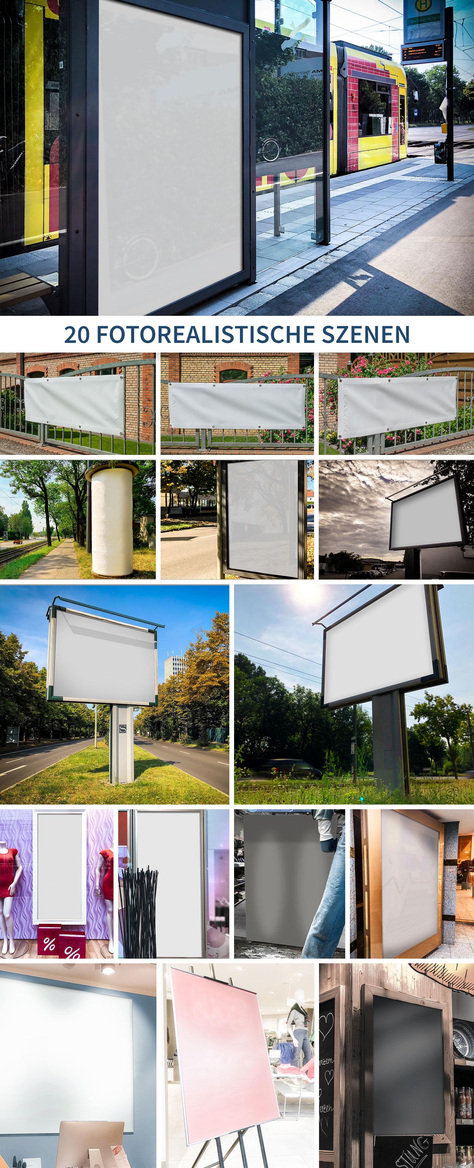 16 Mockups für Plakate und Banner in der Stadt, in Geschäften