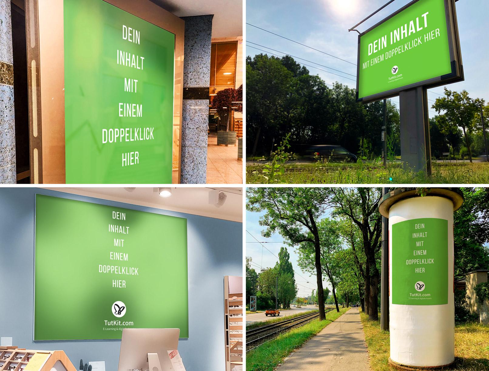 Mockup für Plakate in der Stadt und in Geschäften an Boards, in Werbetafeln, an einer Litfaßsäule