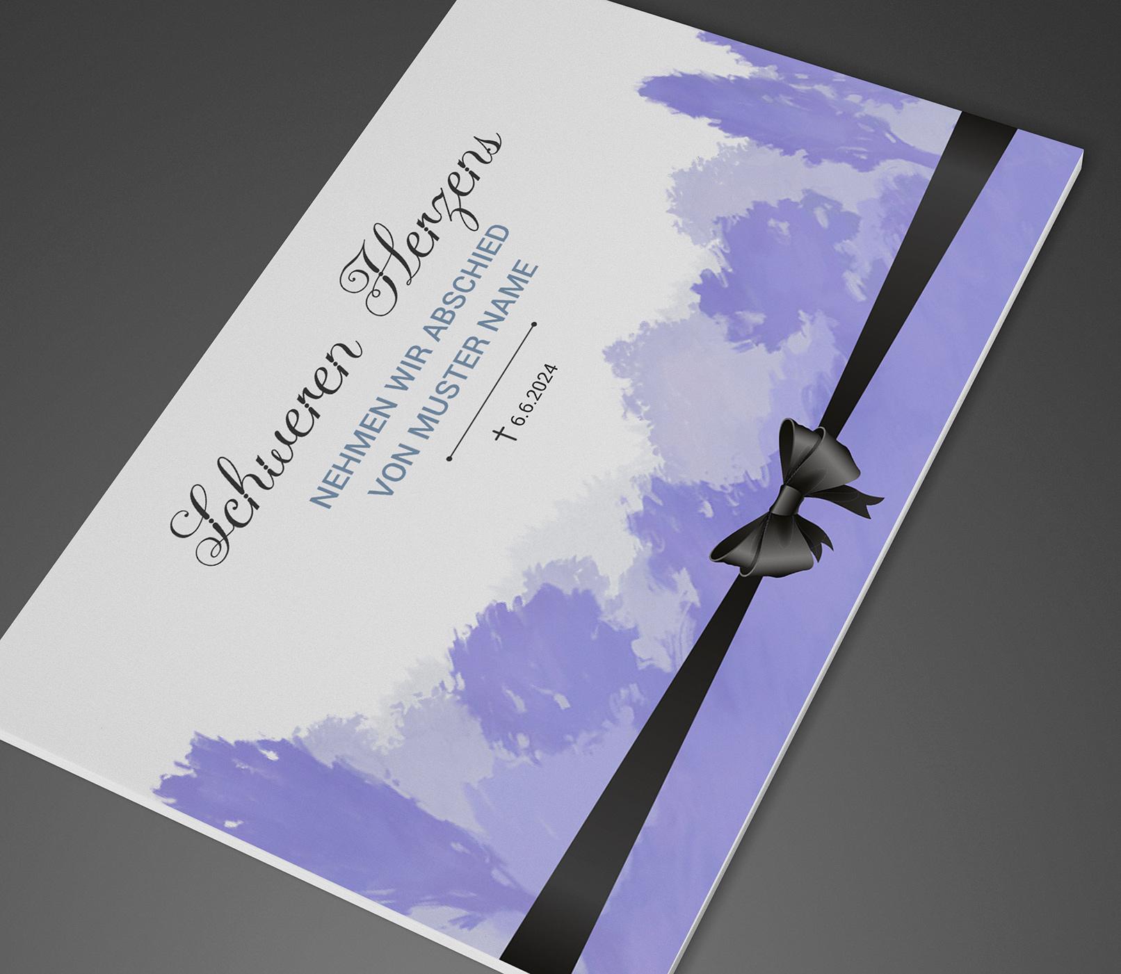 Vorlage für eine Trauerkarte (Vorder- und Rückseite) mit einer Waldszene und einer gebundenen Schleife