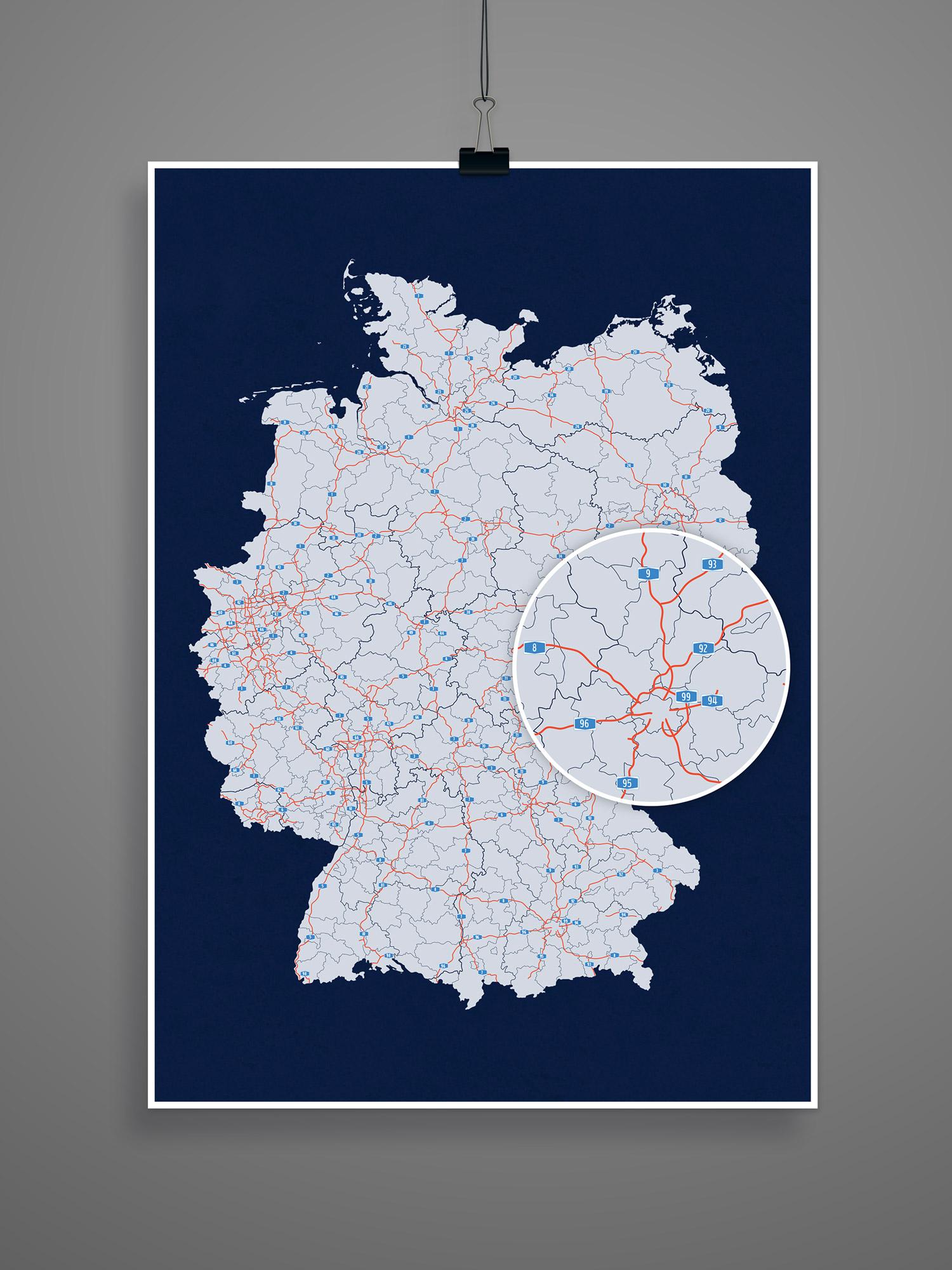 Vektorbasierte Deutschlandkarte mit Bundesländern, Landkreisen und Autobahnen