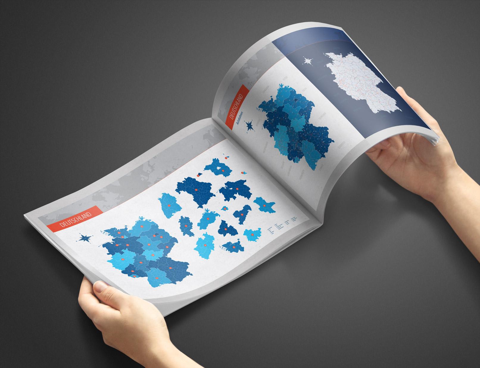 Deutschlandkarte mit Bundesländern in einer Broschüre
