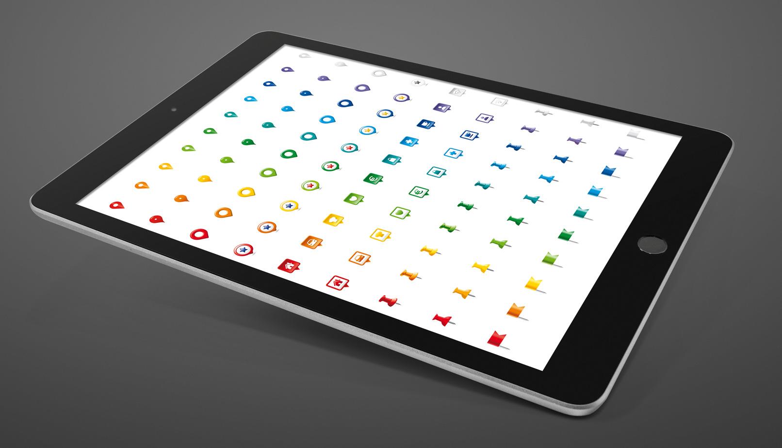 9 Icons zur Markierung von Standorten in Landkarten, je 10 Farbvarianten