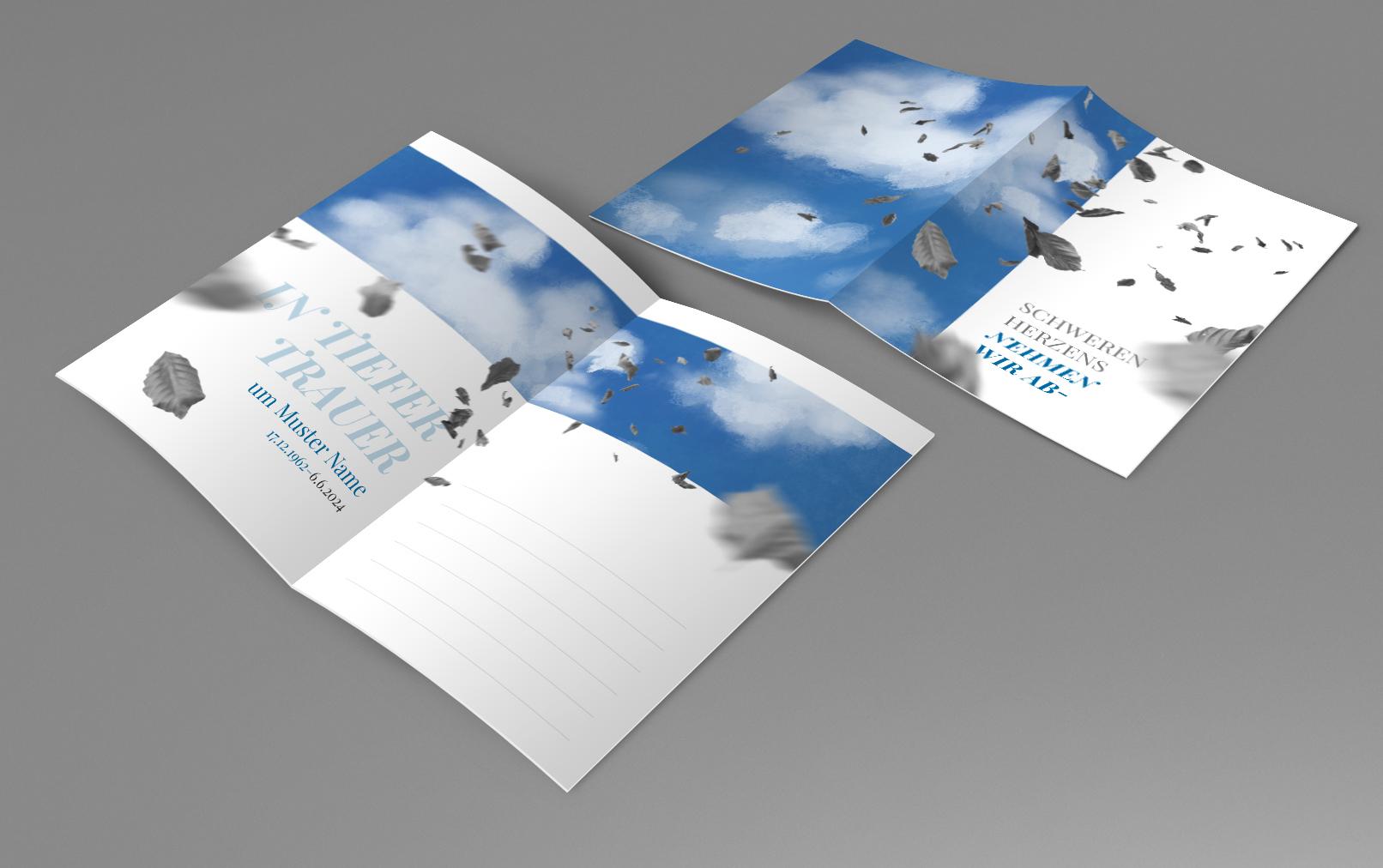 Vorlage für Beileidskarte, Kondolenzkarte als A5-Klappkarte mit Herbstblättern vor einem bewölkten Himmel