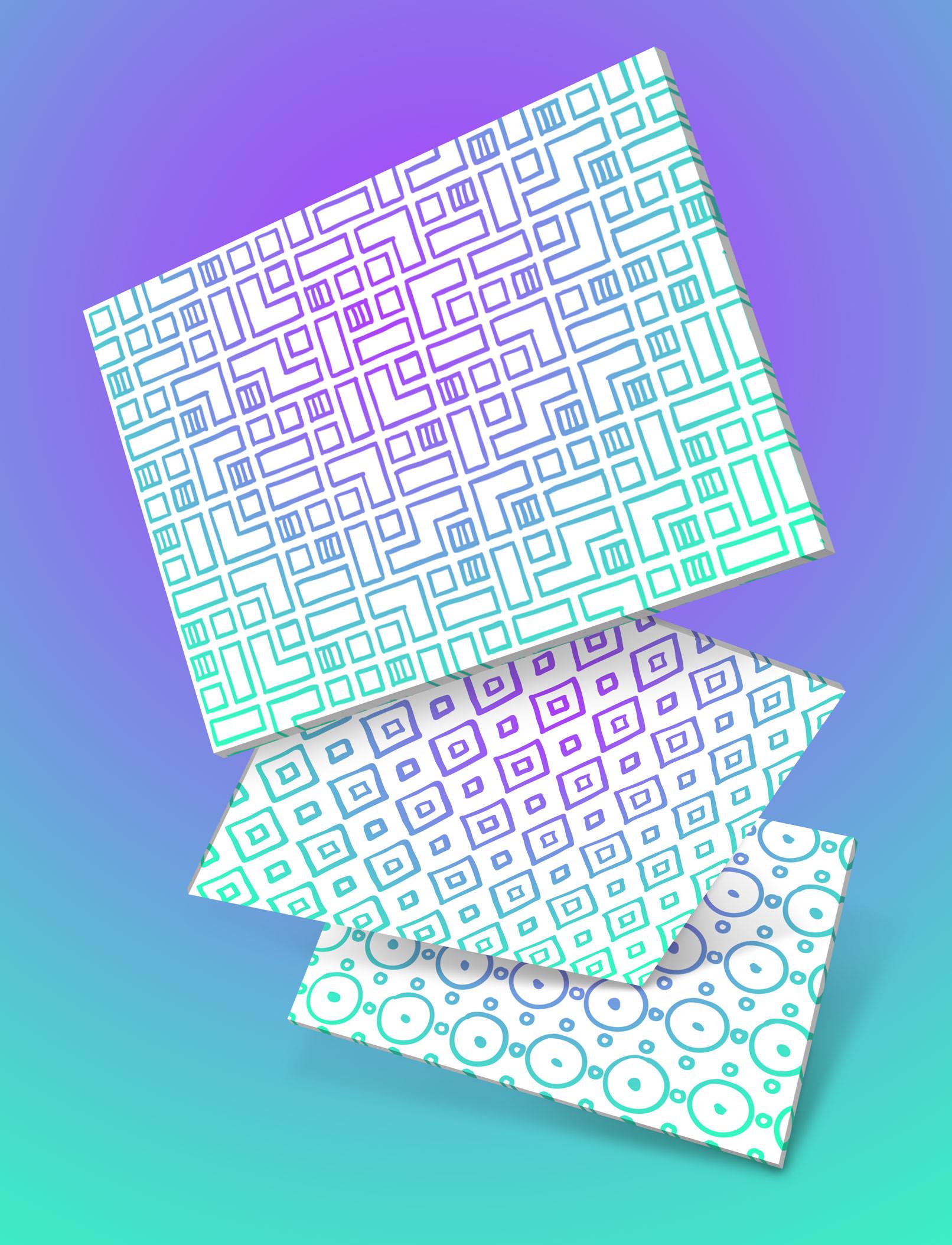 Hintergründe, die mit den vektorbasierten Mustern und Ornamenten erstellt wurden