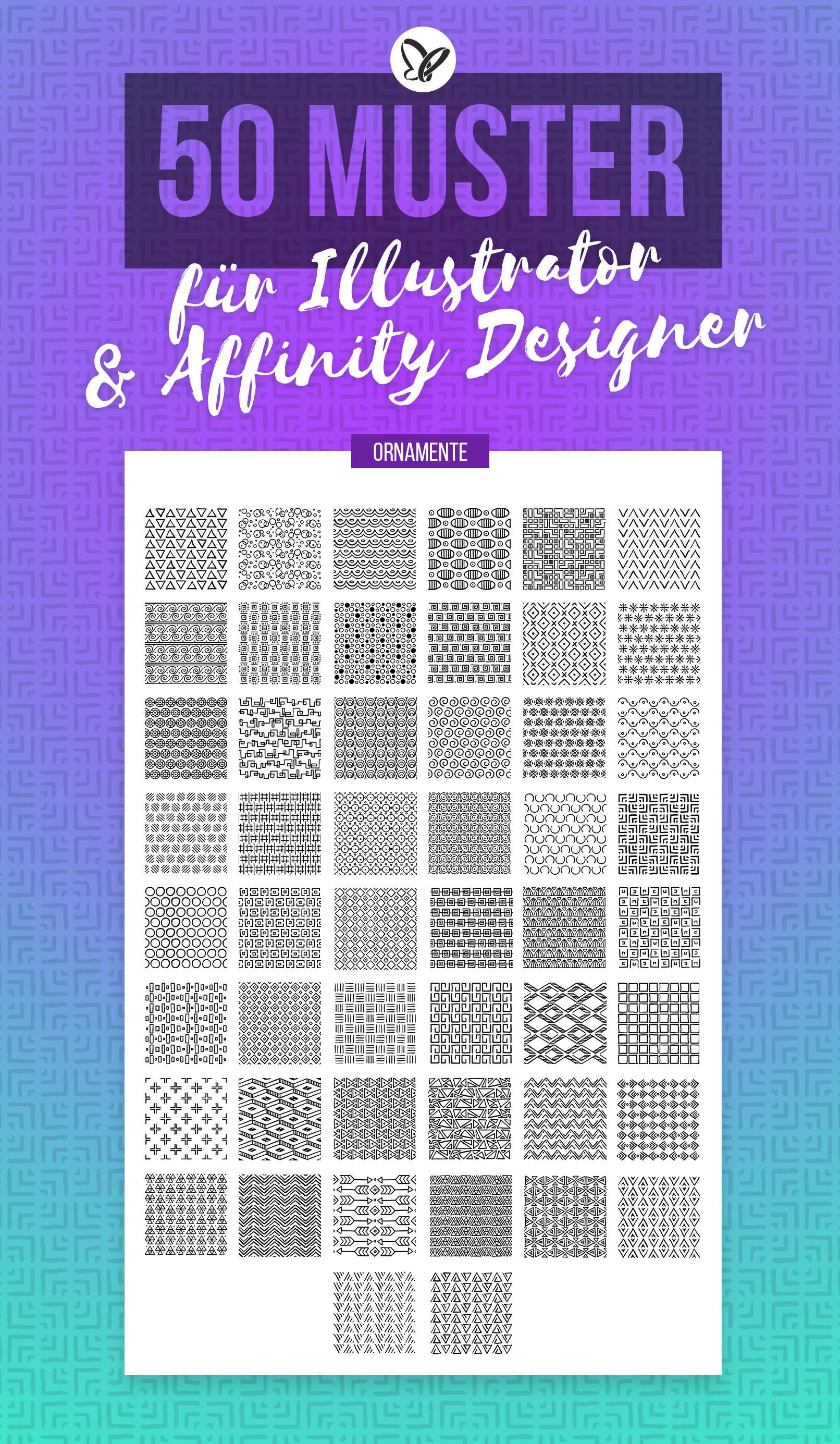Vorschau auf die 50 vektorbasierten Ornamente für Adobe Illustrator und Affinity Designer