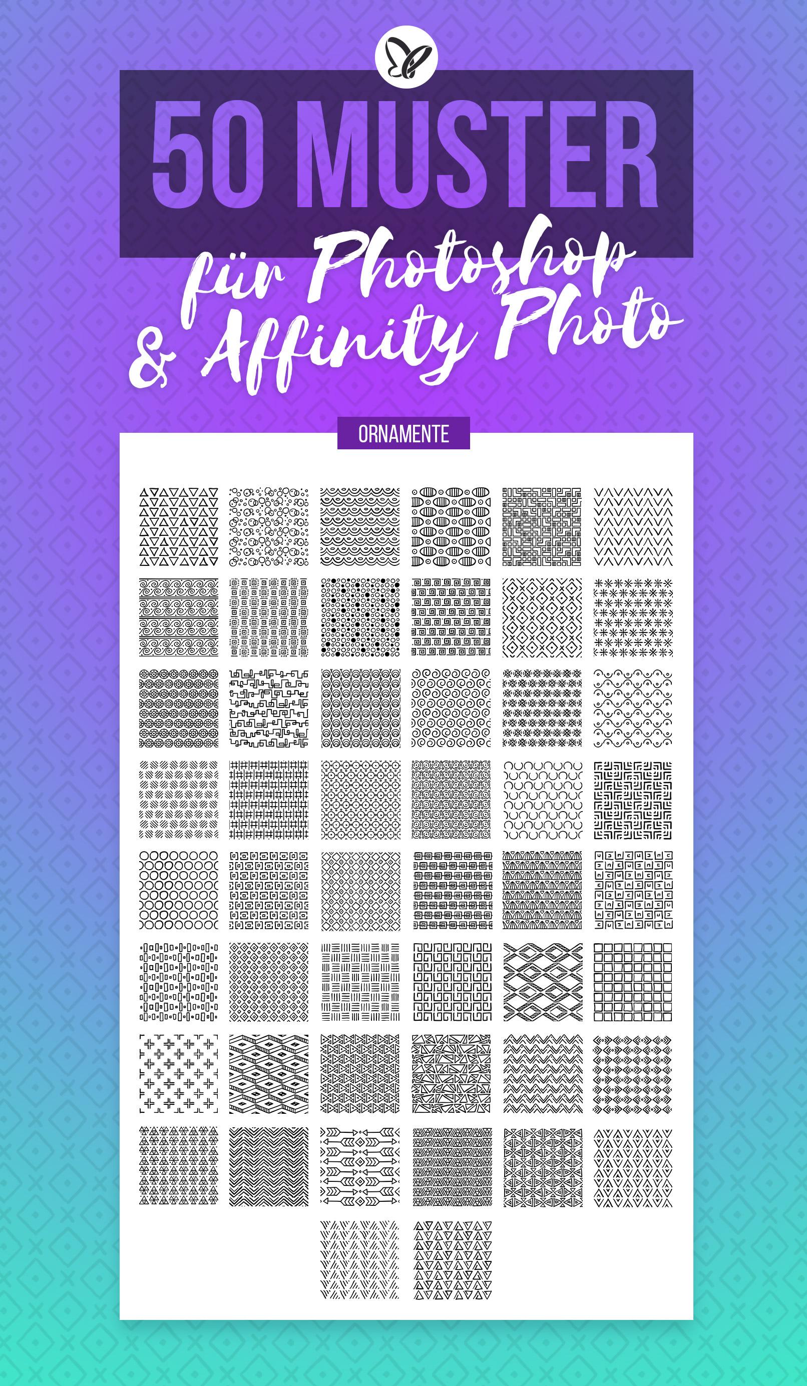Vorschau auf die 50 Muster mit Ornamenten für Photoshop und Affinity Photo