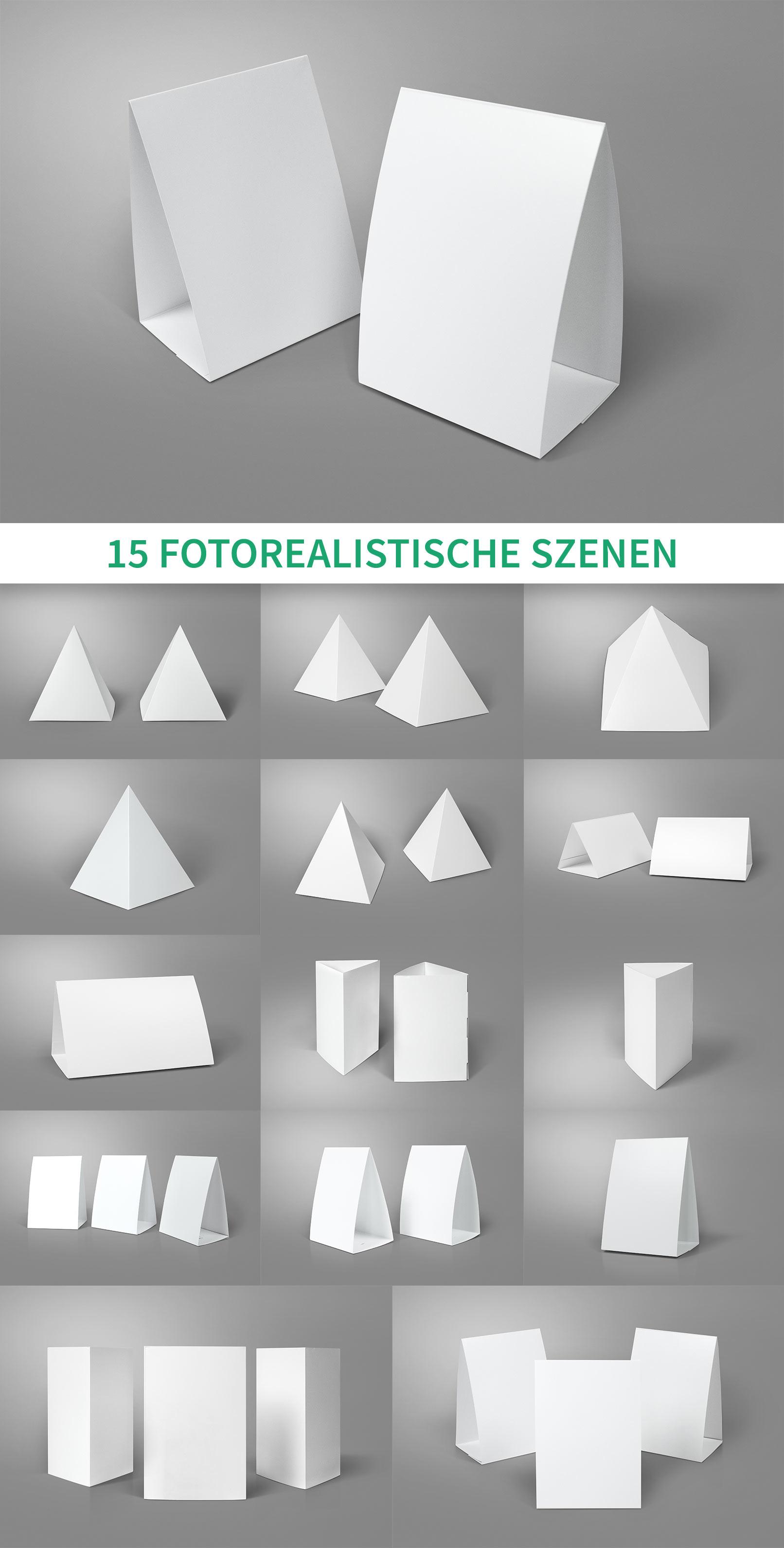 15 Mockups für Tischaufsteller im DIN-Format, als Dreiecksaufsteller und in Pyramidenform