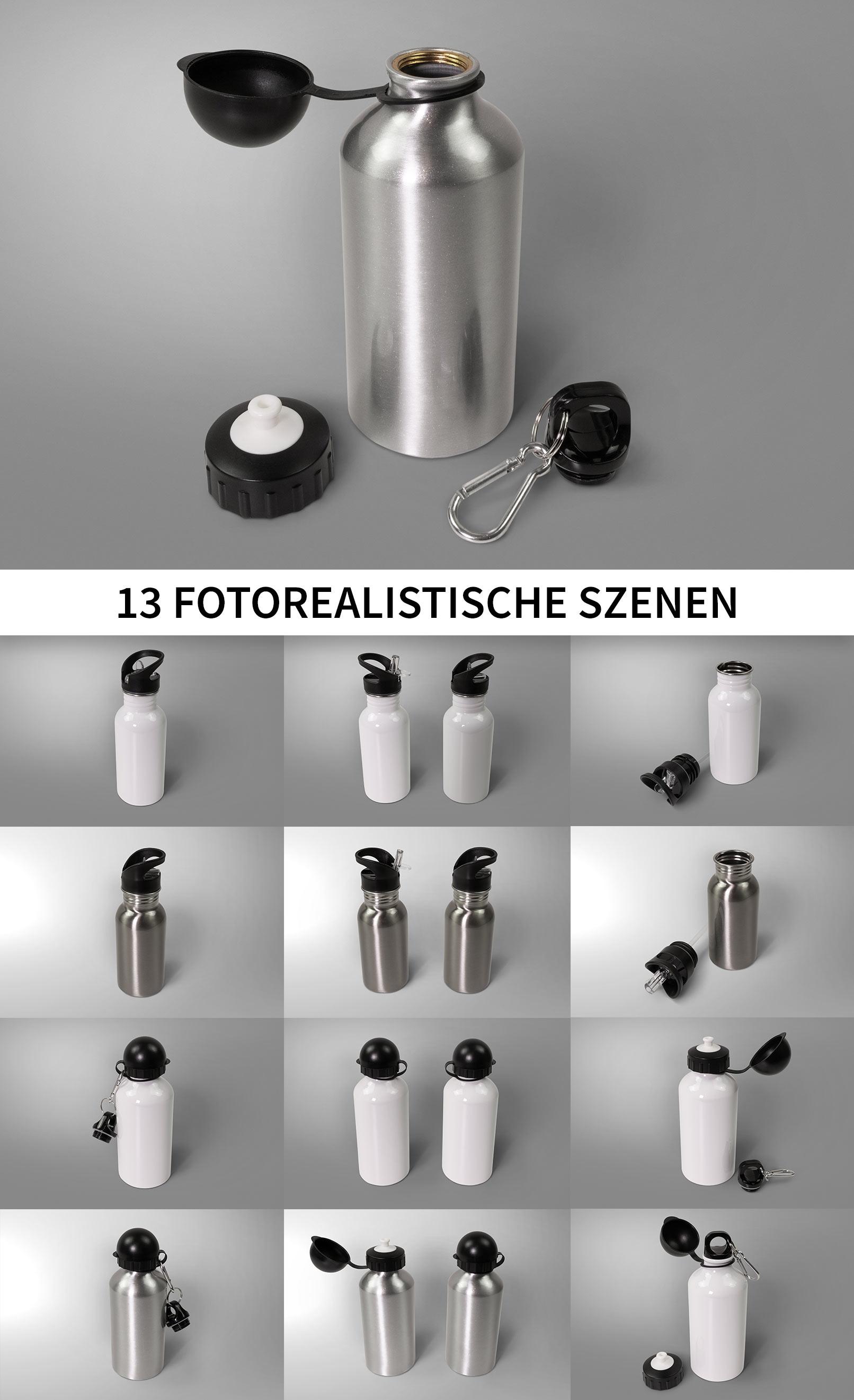 13 Mockups für Sport-Thermosflaschen bzw. Isolierflaschen in der Übersicht
