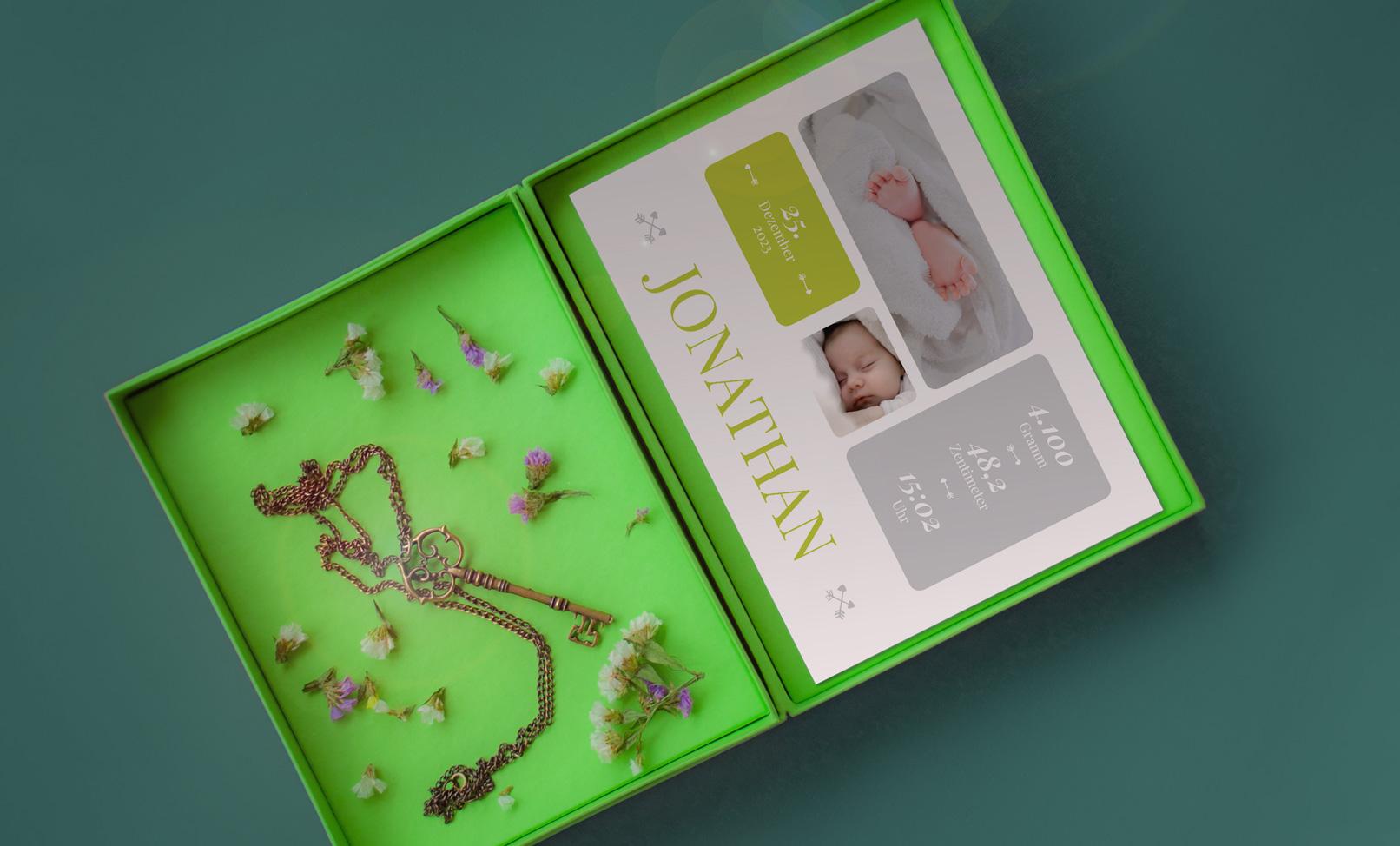 Kreative Geburtskarten-Vorlage zum selber gestalten