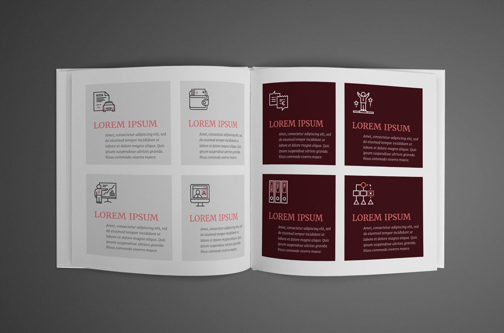 Business-Icons in einer Broschüre